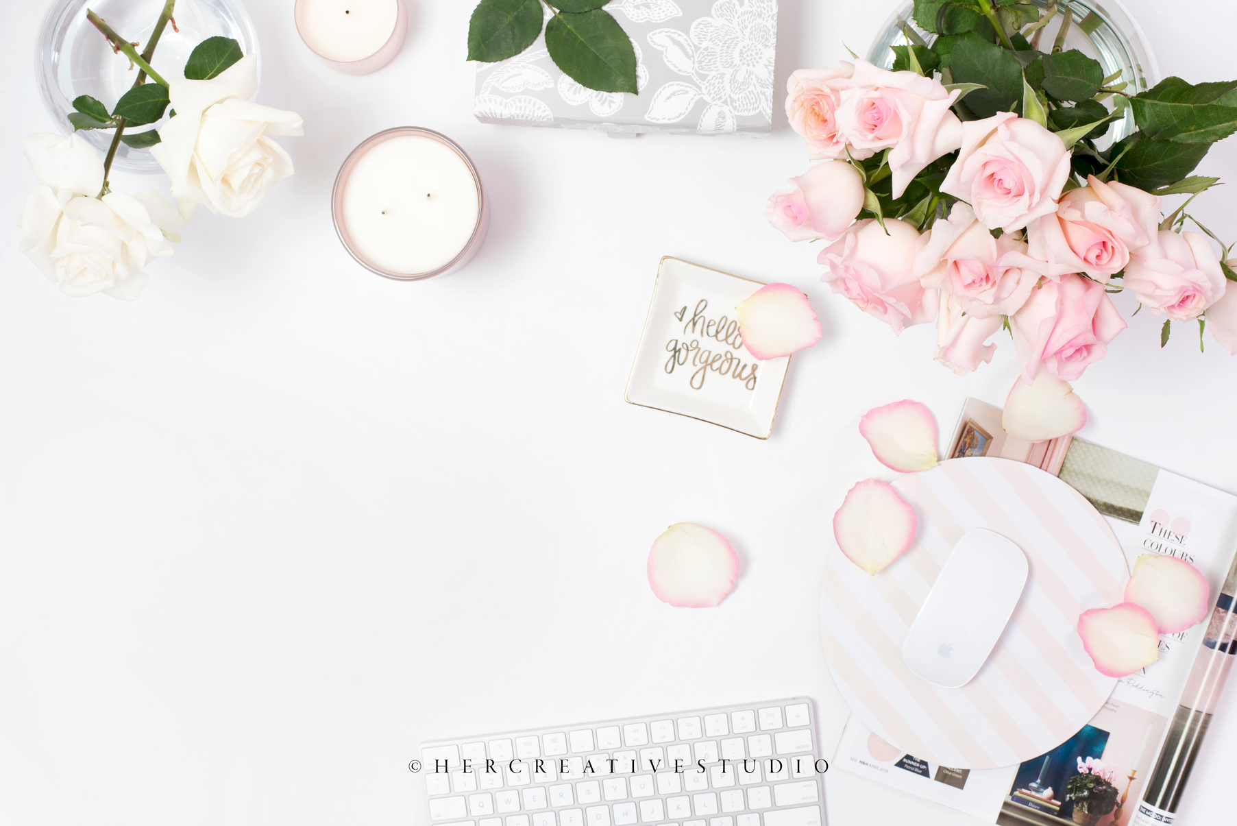 57615011 Styled Desktop, Roses & Desk Accessories — Her Creative Studio