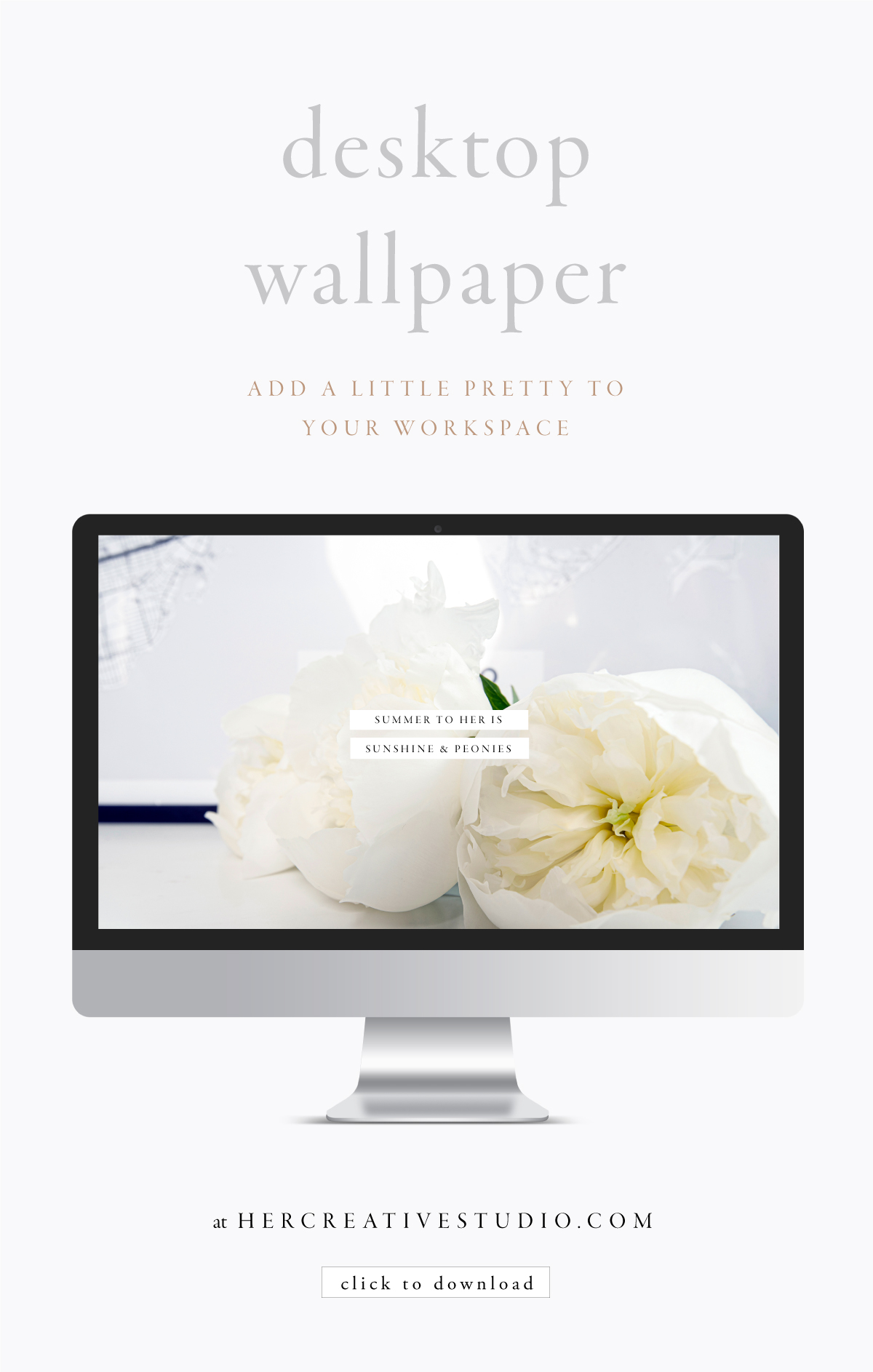 Make your workspace pretty with this FREE desktop Wallpaper from her Creative Studio.