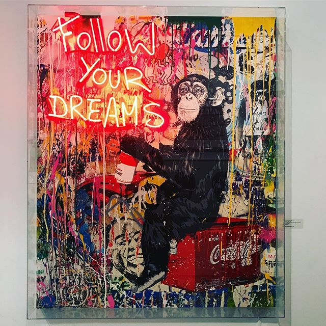 'Everyday Life' by Mr Brainwash  We are told to follow our dreams. Chase them actually. And society gives us prefabricated dreams to chase blindly. Rarely do we close our eyes in order to see our truth and our calling from with in.  What are our dreams with out a plan? What are our dreams with out taking action? Dreams without Actions are just wishes. Wishes that we find ourselves longing for and hoping for because we simply accept what we have been given.  I encourage you to close your eyes and find your truth and take action on that. xx