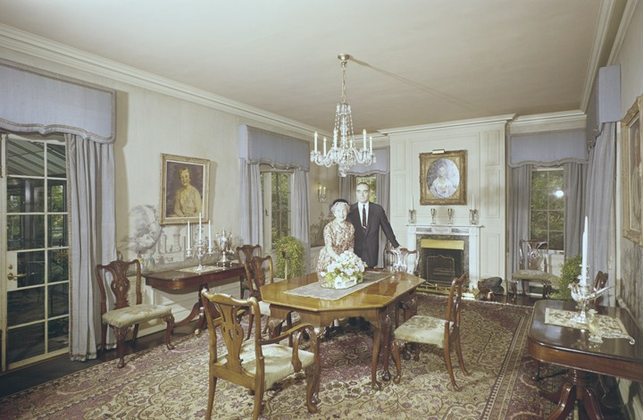 Allen and Mrs. Clowes in their dining room