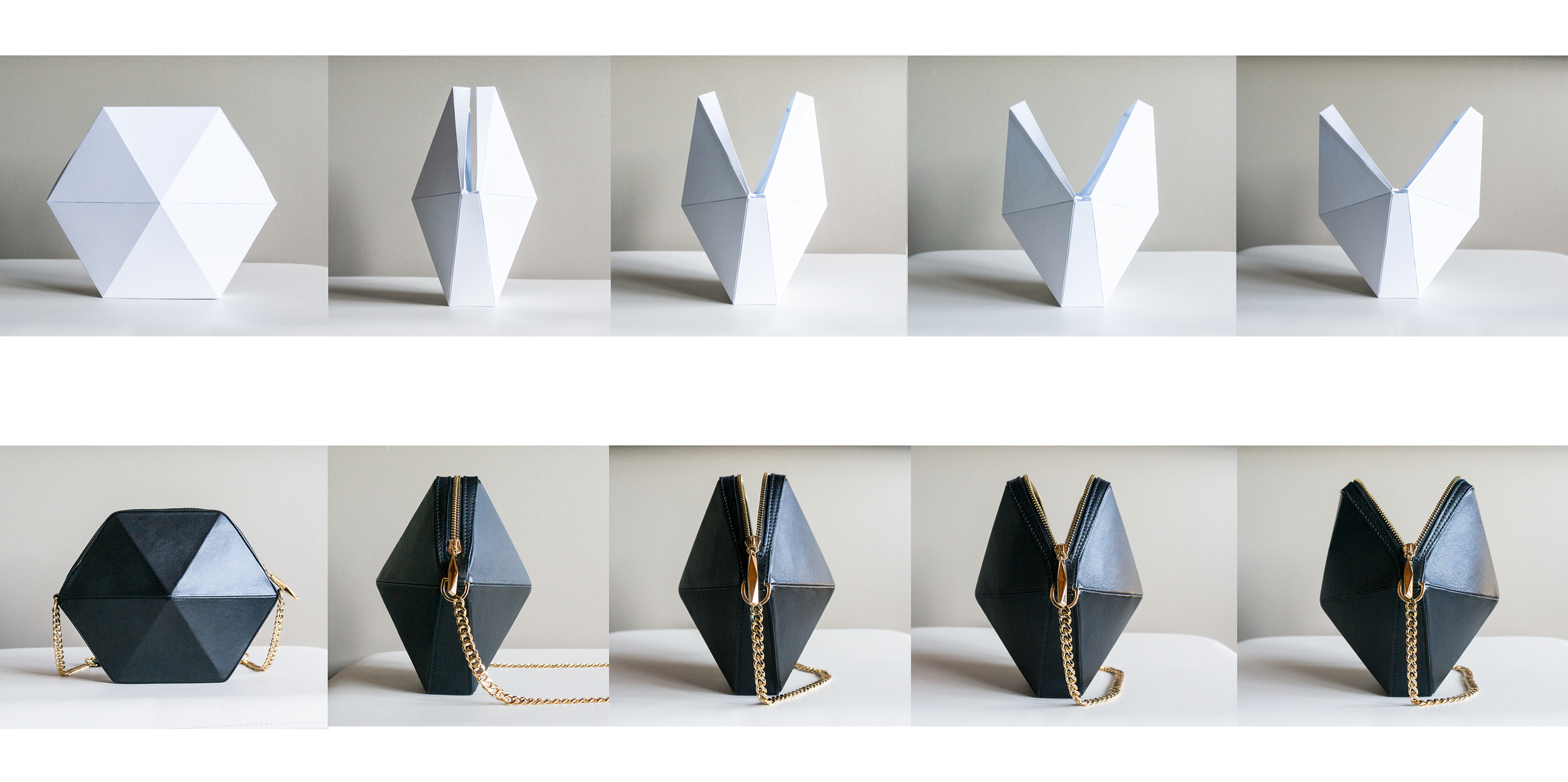 The image above showcases  HEXA cross body  bag's concept model to final product. The movement of the bags are key element designing the  Linea Collection .