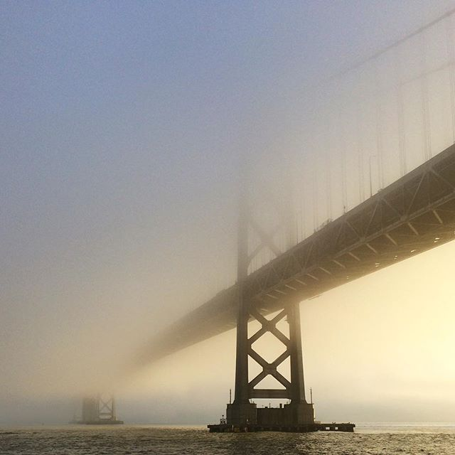 Foggy morning sunrise at the Bay Bridge. #SanFrancisco #Fog #Morningfog #baybridge #sf_insta  #sfigers #sfmorning #softlight #goodmorning #light #bridge #instagood