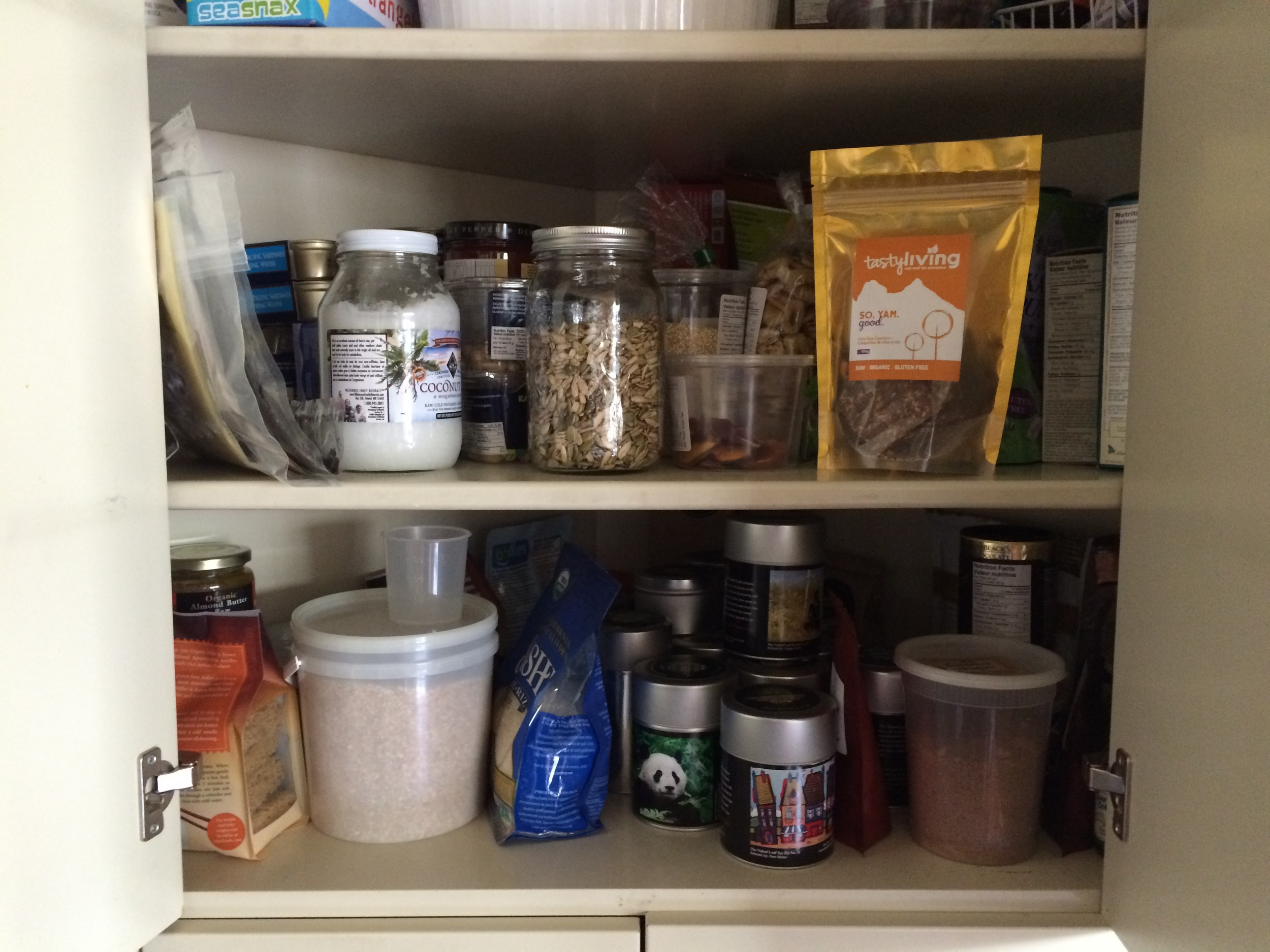 Feel free to scrutinize my cupboard.  It reflects a family that is half Paleo/GAPS, half whole foods, and 100% tea lovers