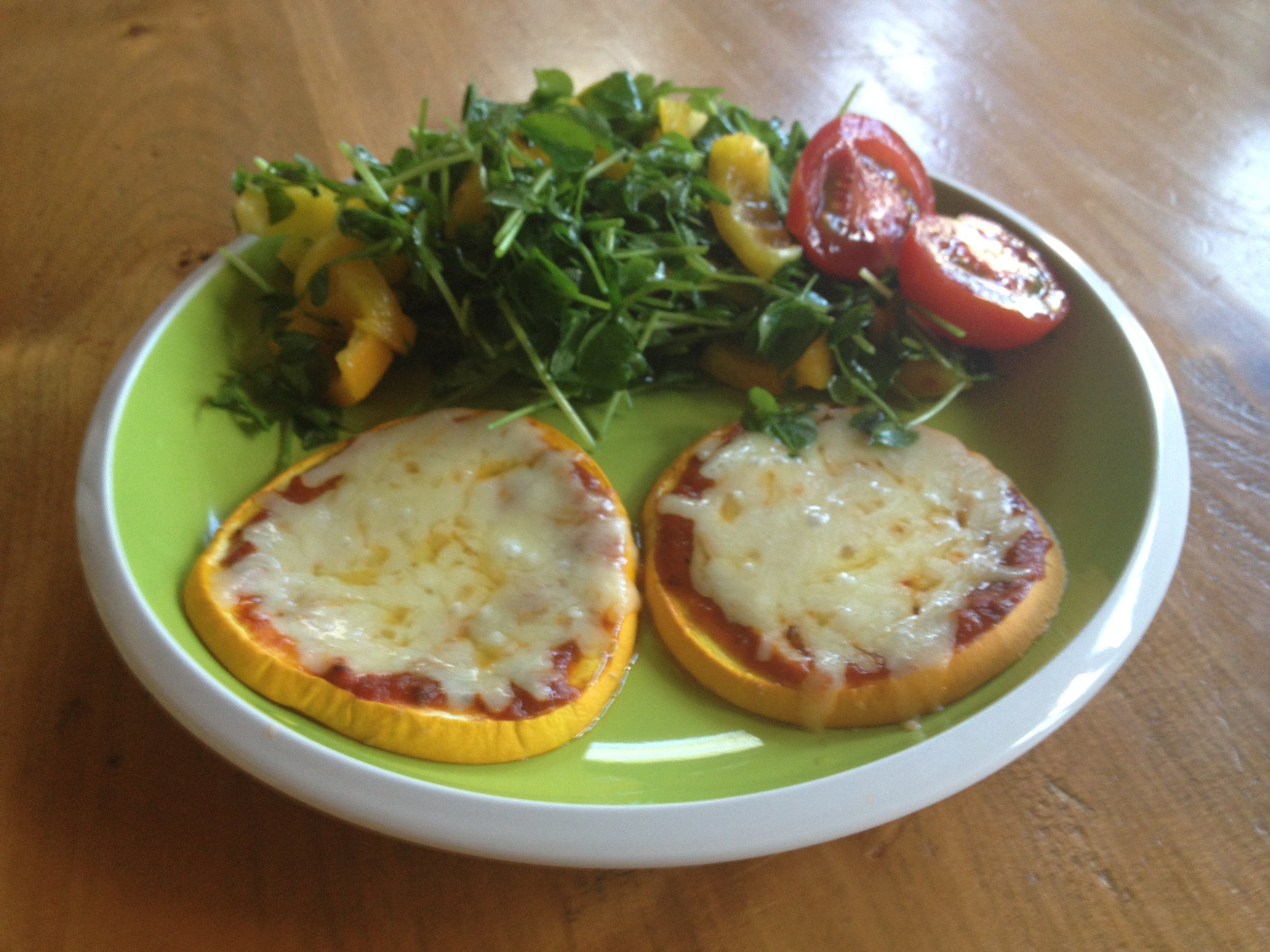 My animal protein in these Squash Pizzas comes from an aged cheese.