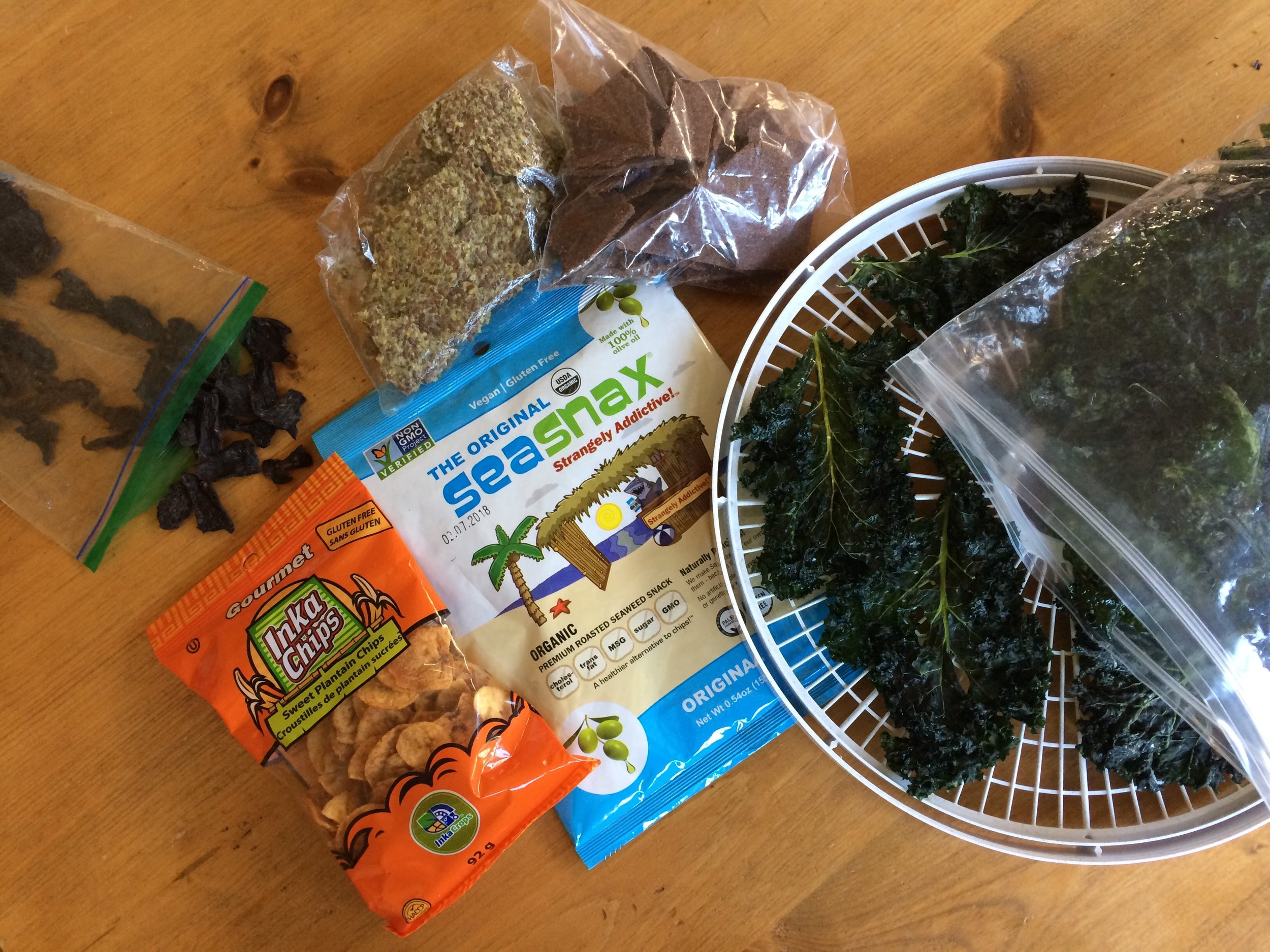 Here are my dehydrator snacks, plus a couple of items from the store.