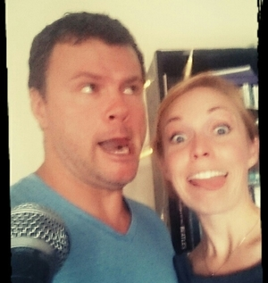 Host Will Conlon with his Episode 4 Guest Actress Victoria Kucher (making silly faces)
