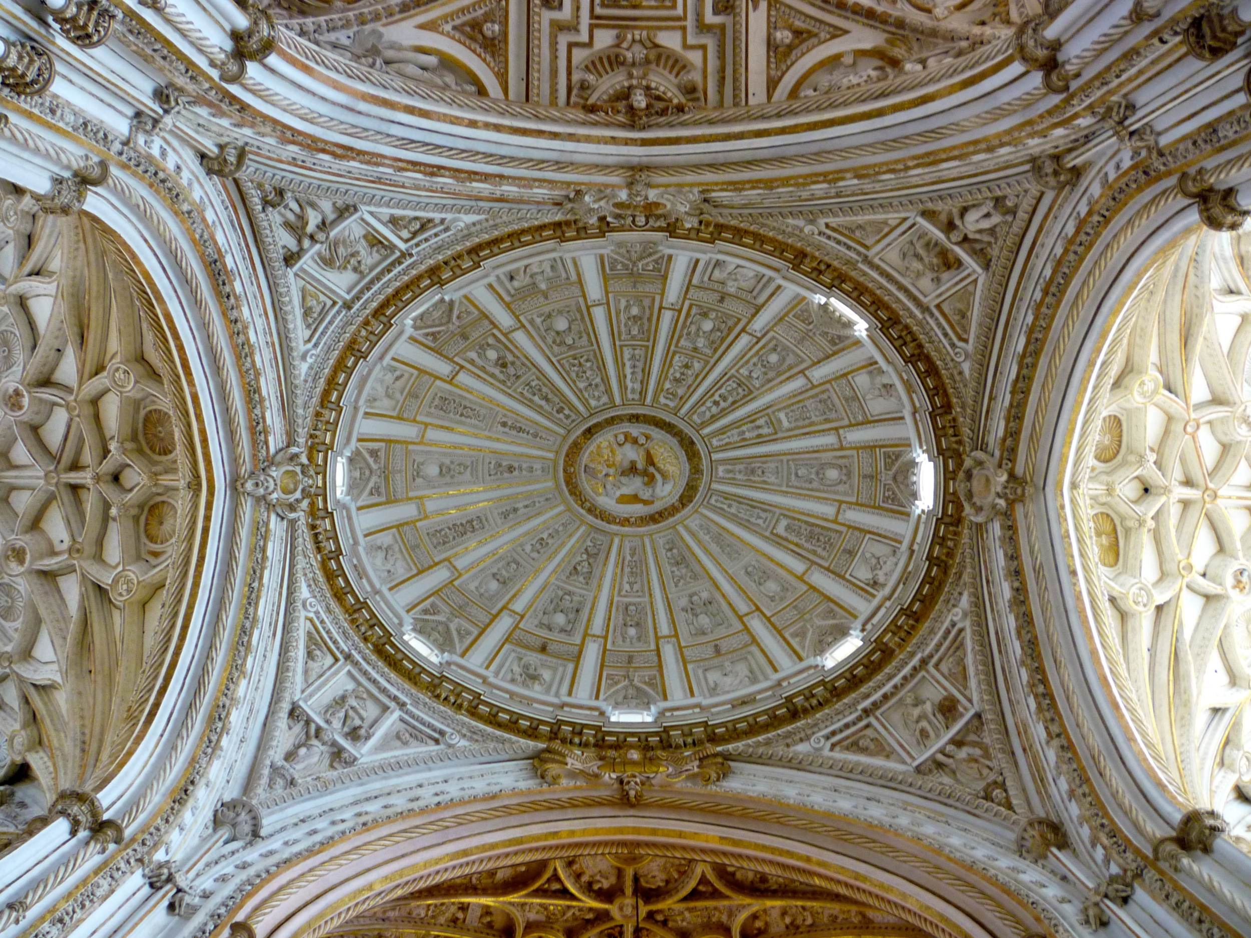 Looking up at the dome of the church section