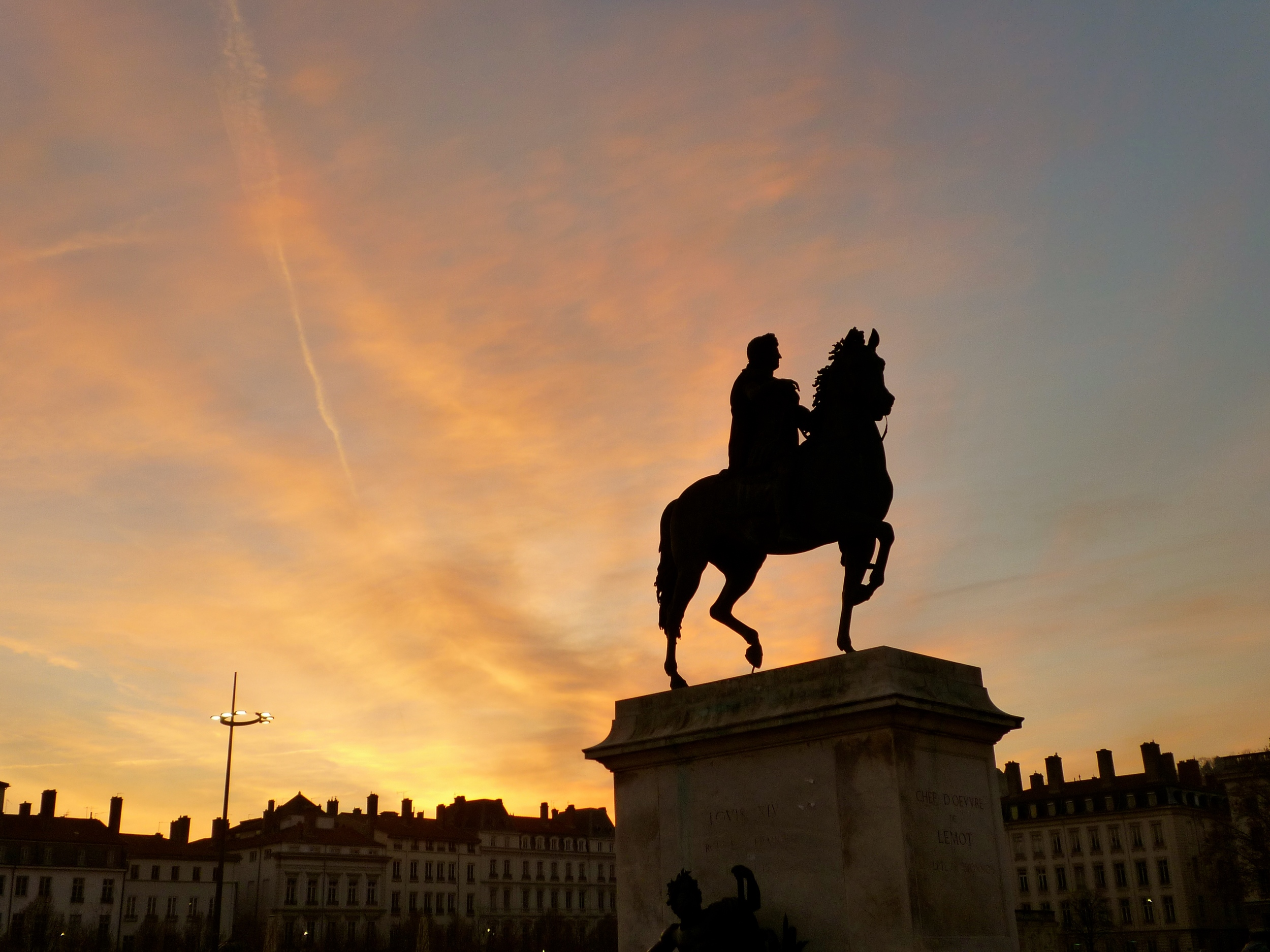 Statue of Louis XIV in the center of Place Bellecour