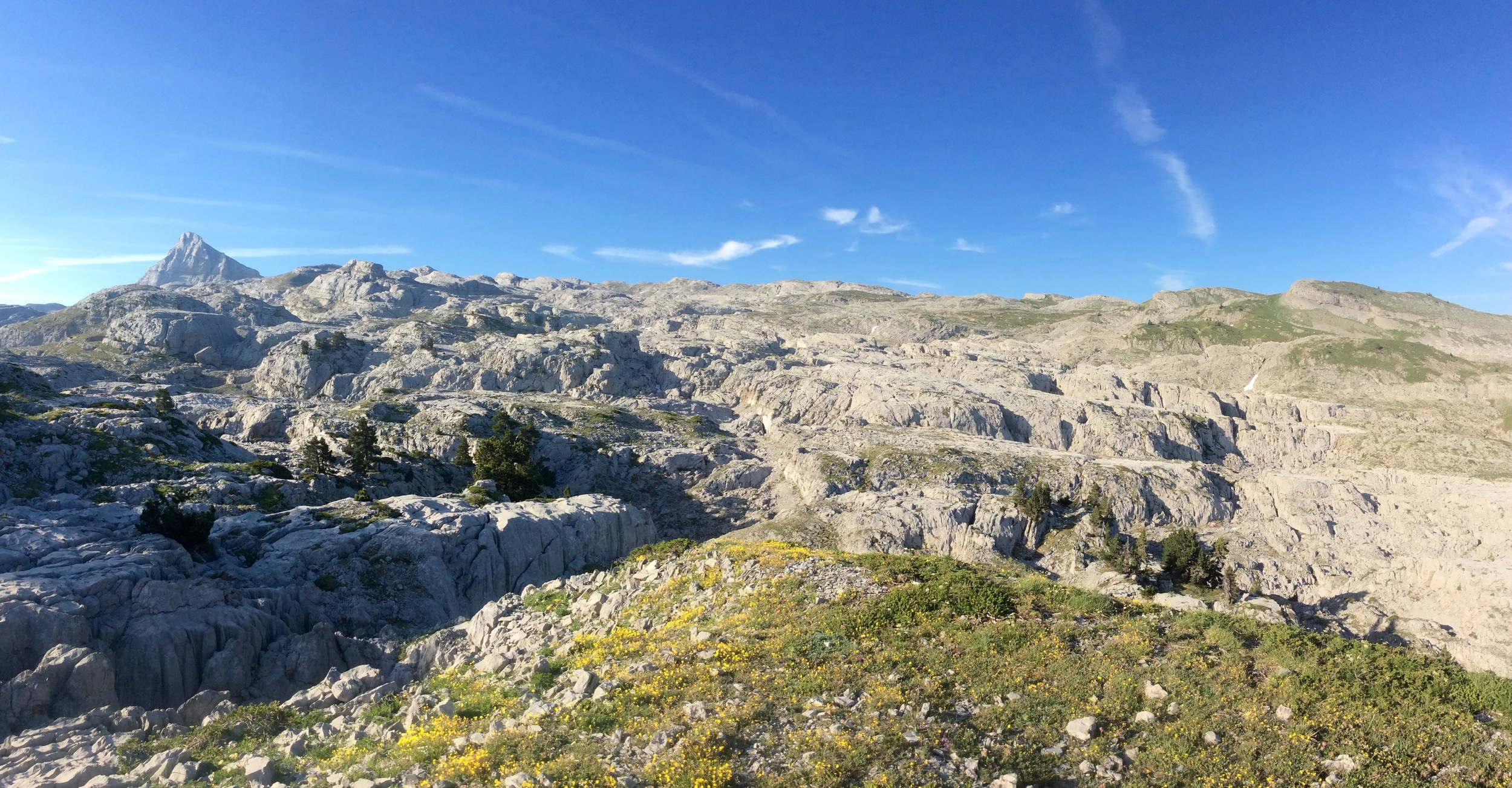 Desolate limestone plateau and the west face of Pic d'Anie
