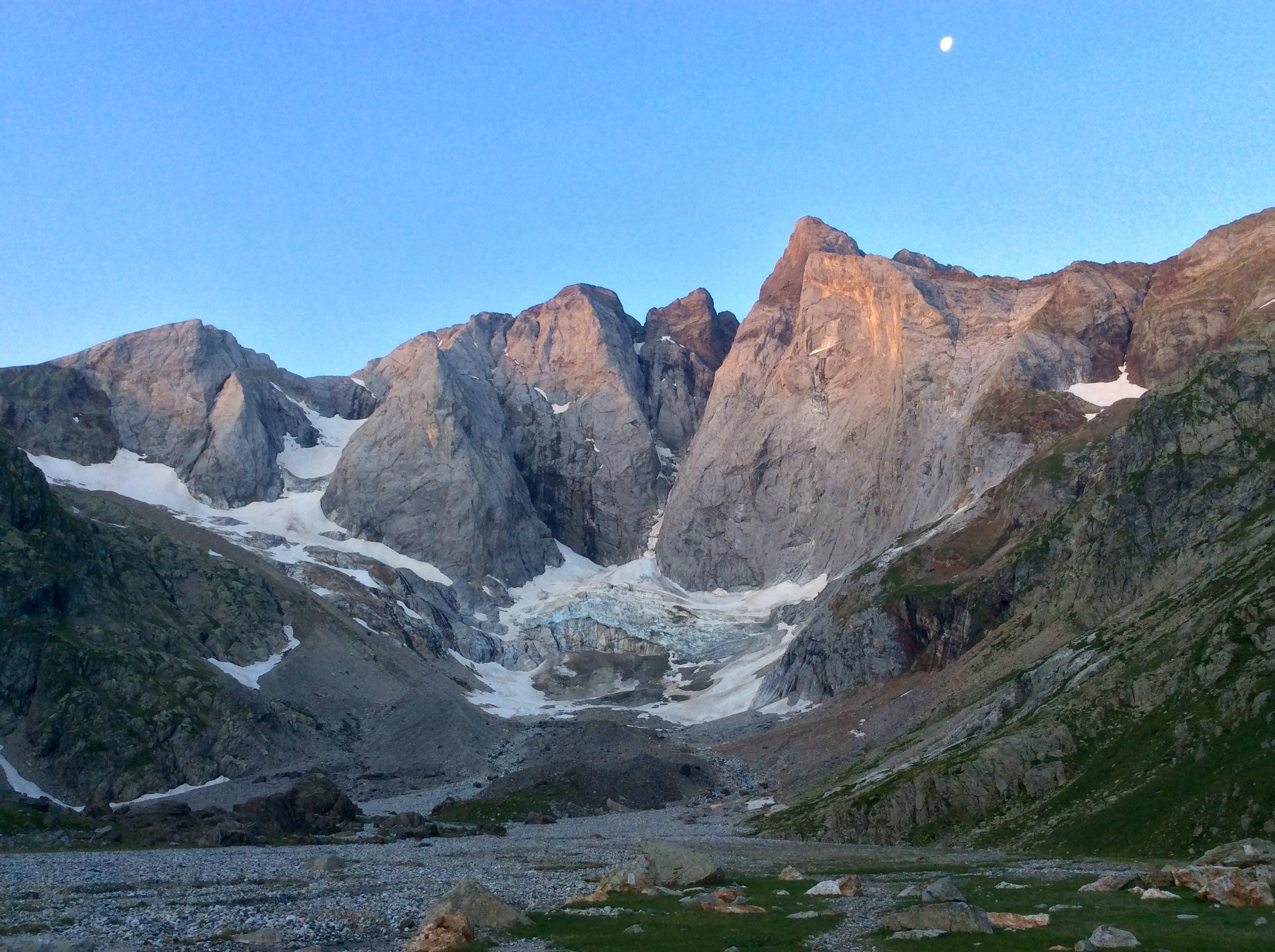 The north face of the Vignemale massif at sunset