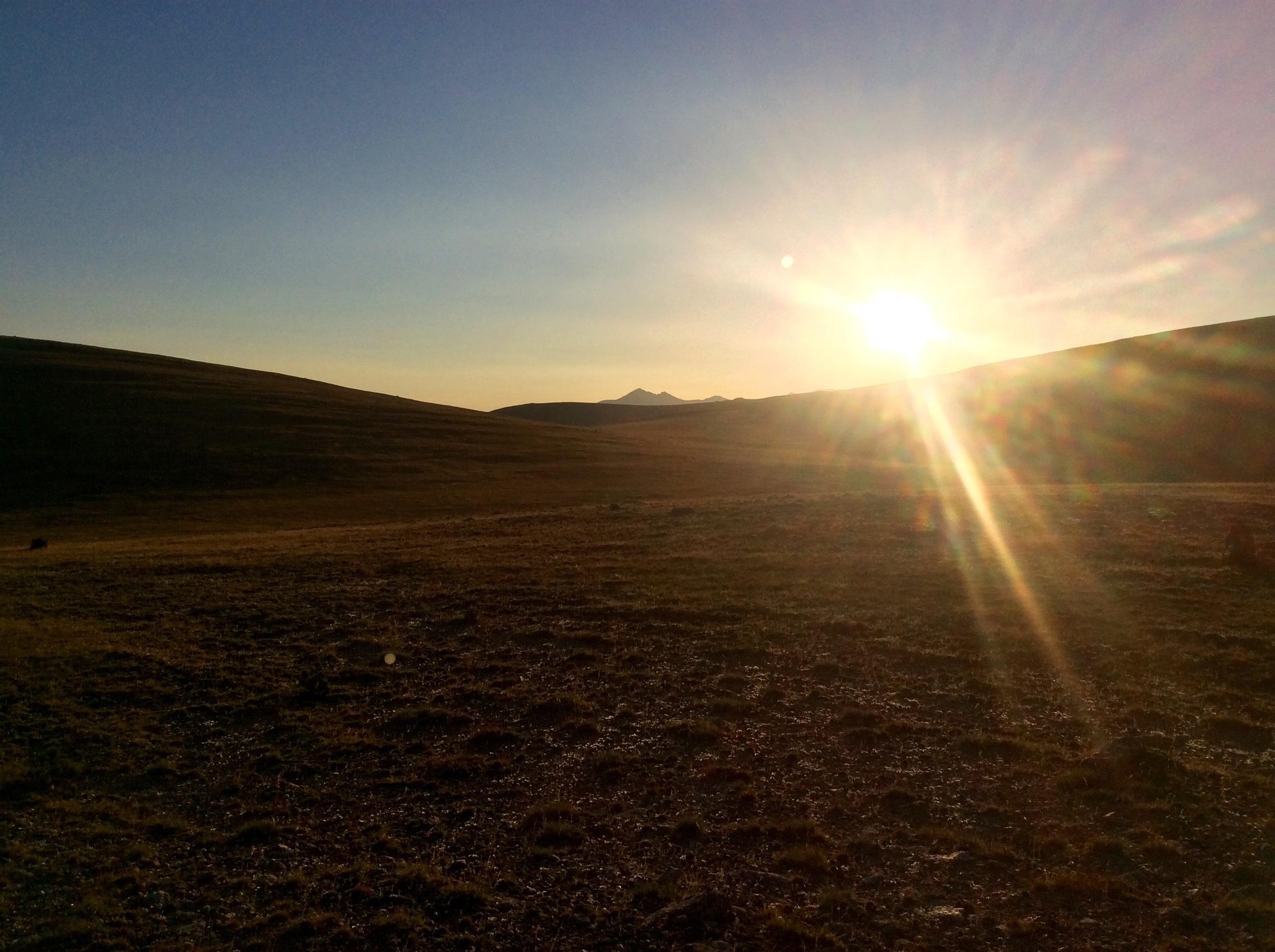 Pic du Canigou in the distance at sunrise