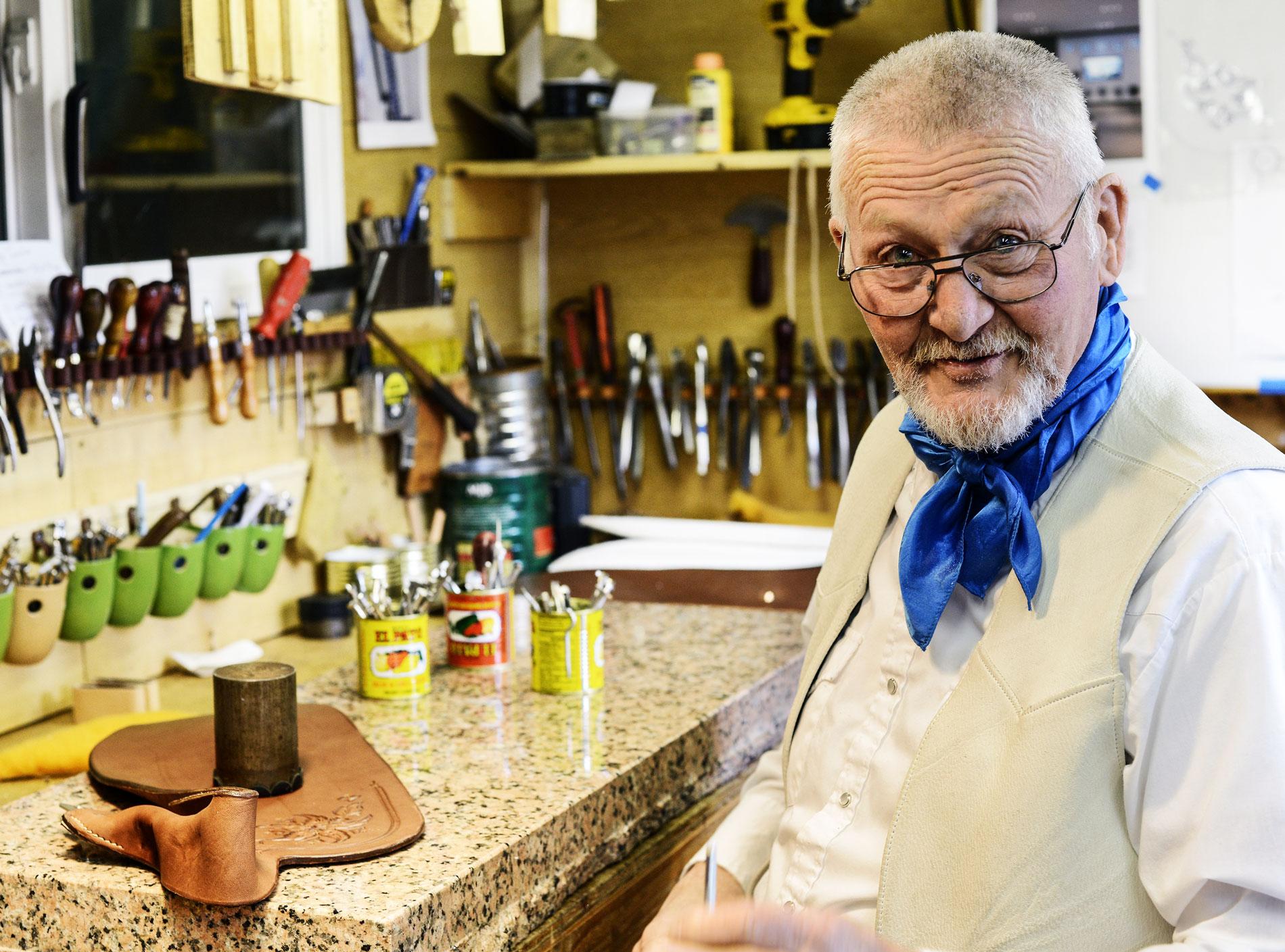 soft saddle maker Bill Huston blue eyes