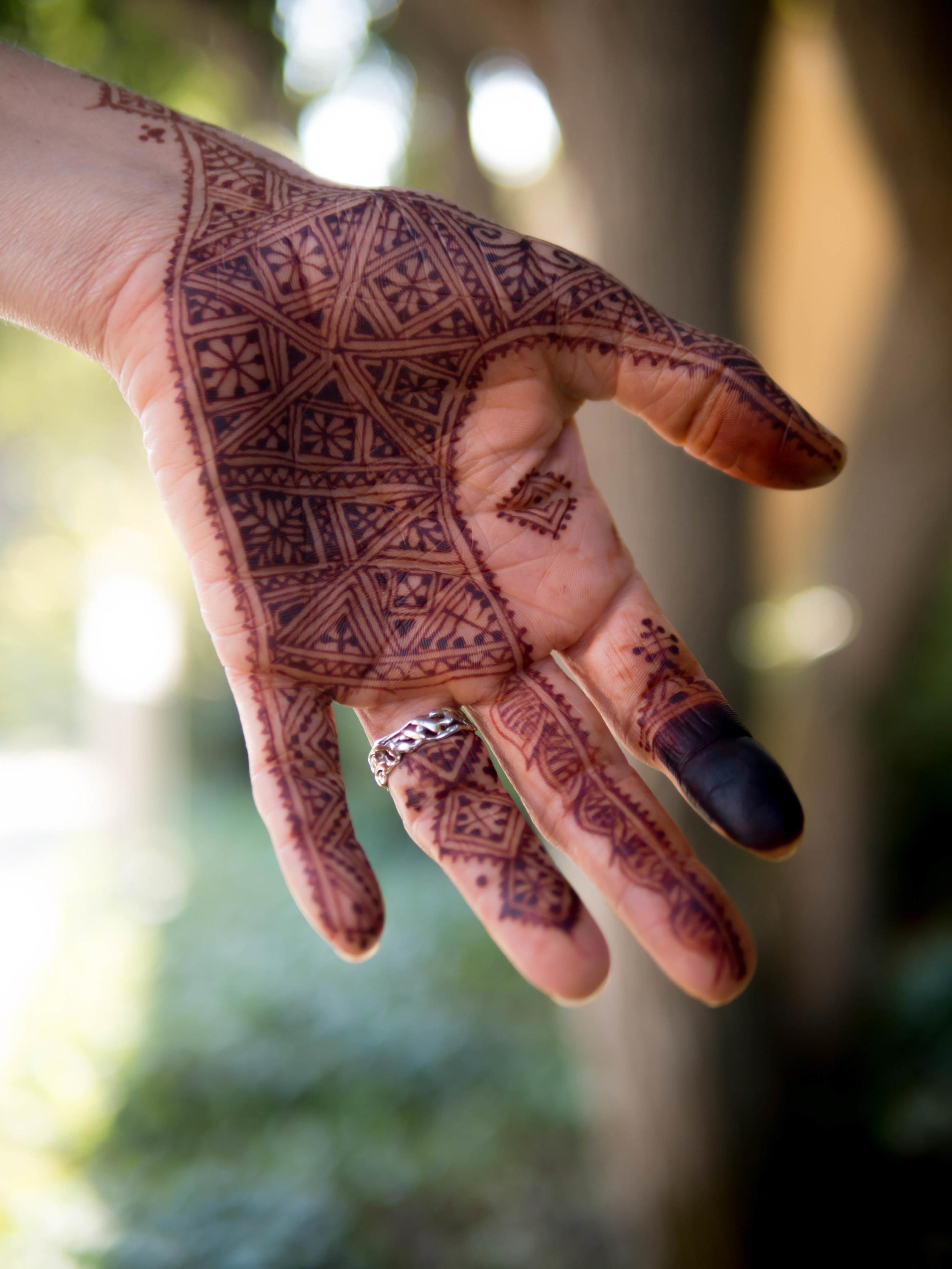 A variation of the Lalla Malika henna design