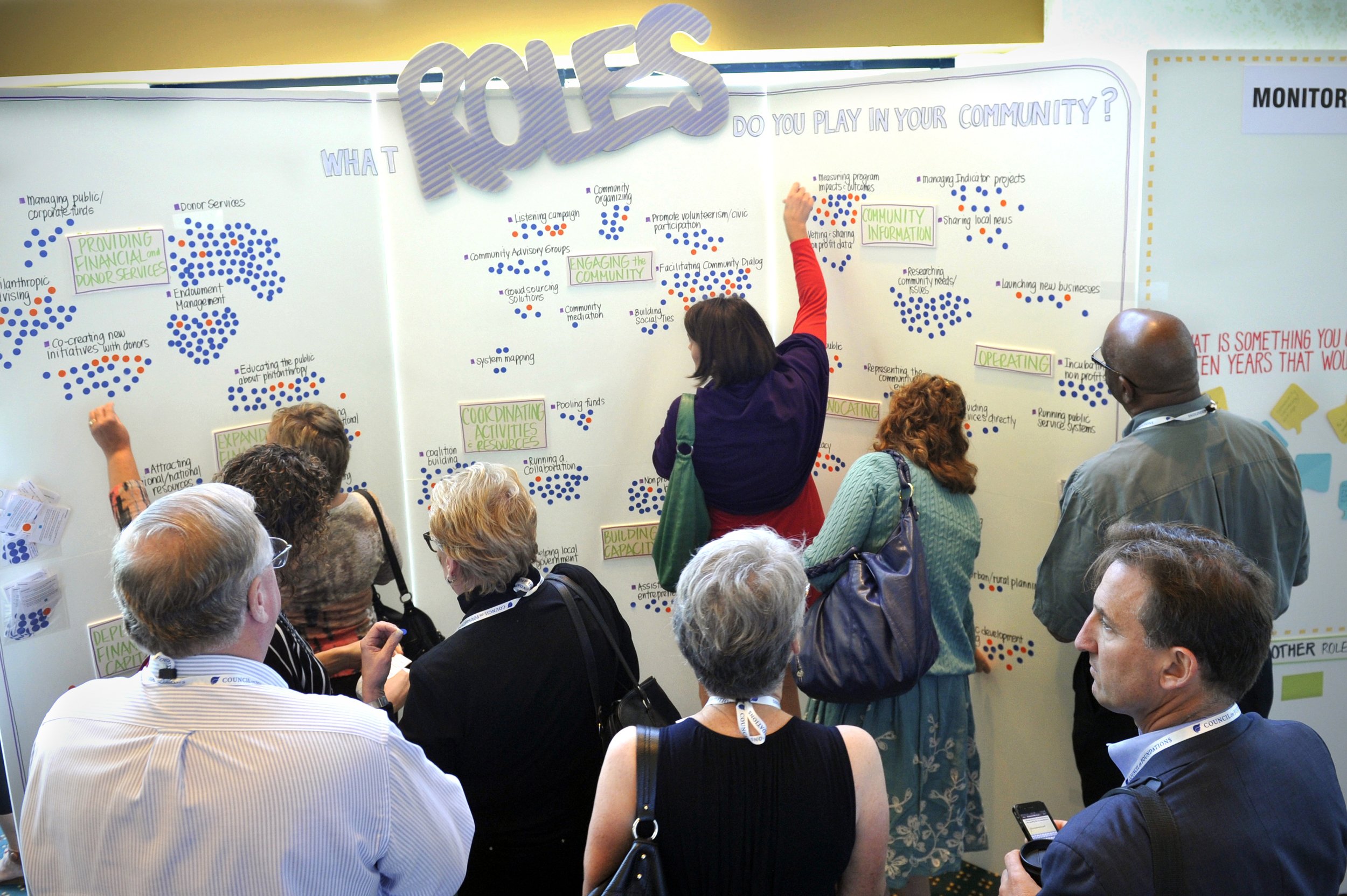 """The 16' X 8' """"Innovation Wall"""" provided an easy way for conference attendees to identify their roles within their communities. In addition to fostering group interaction, the resulting graphic display provided an interesting demographic breakdown of the attendees."""