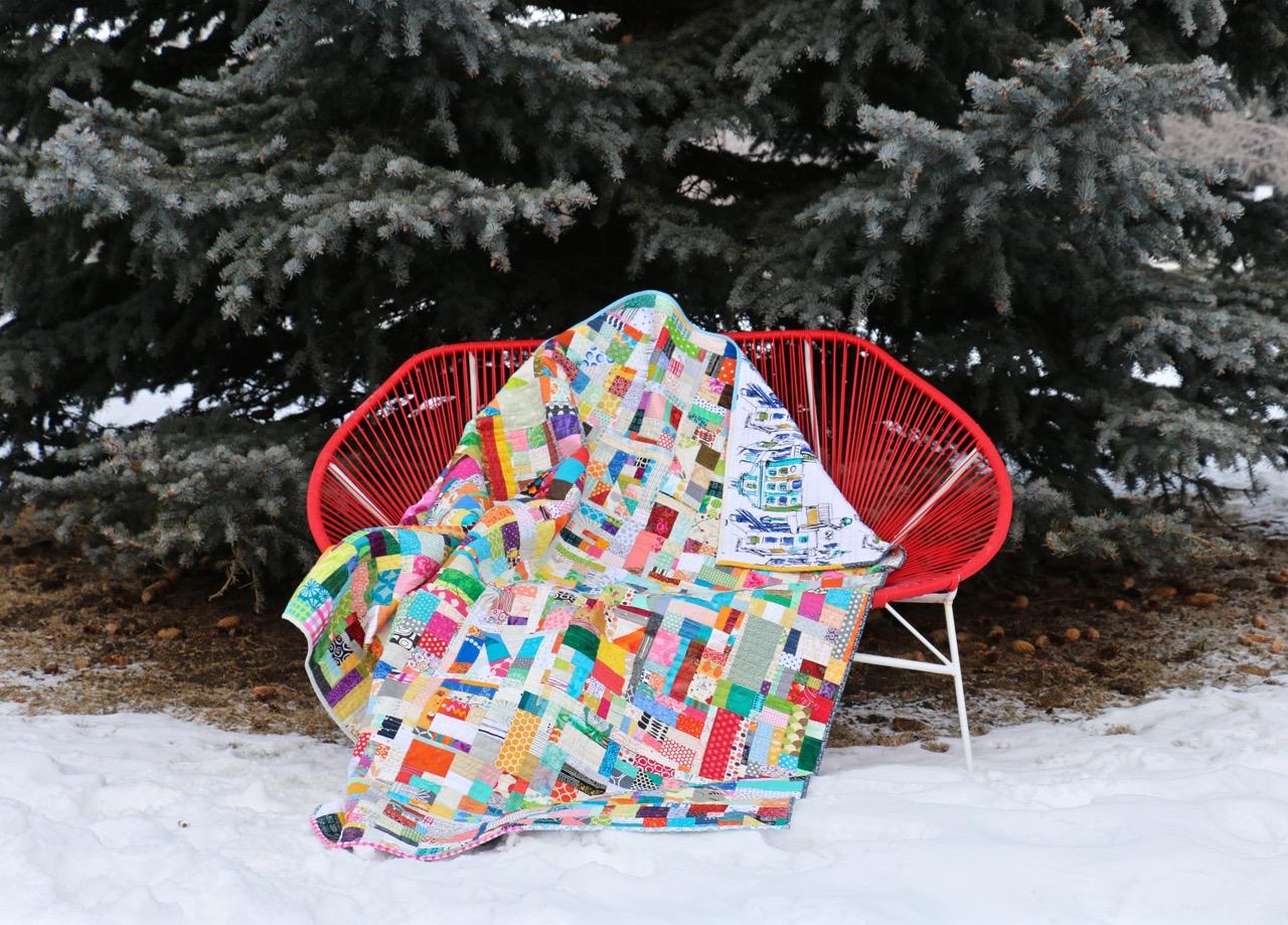 Improvised Scrap Quilt With Words