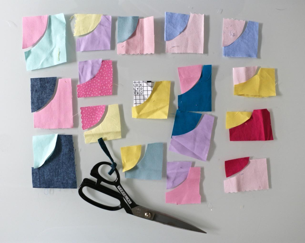 Tiny Improv Curved quilt blocks