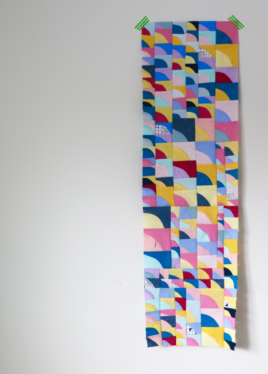 Tiny impov curve quilt blocks