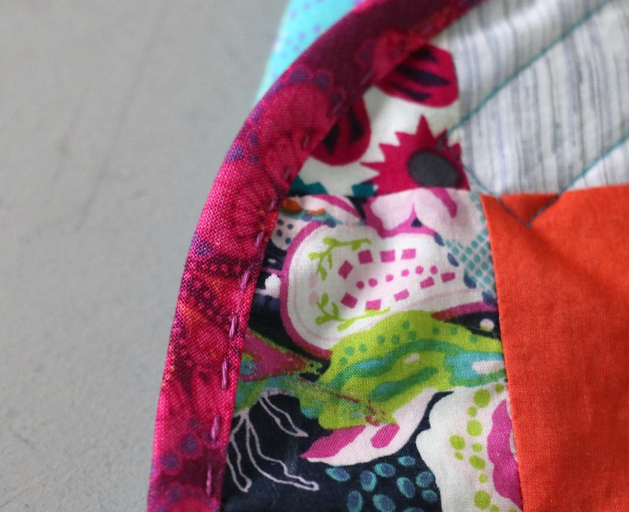Hand Stitched Binding with Valdani Thread
