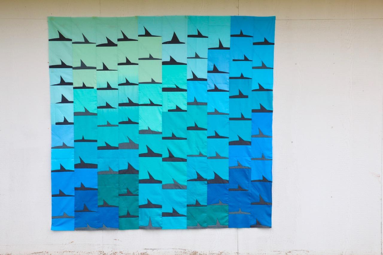 Shark Quilt Improvised Piecing Improv Quilting
