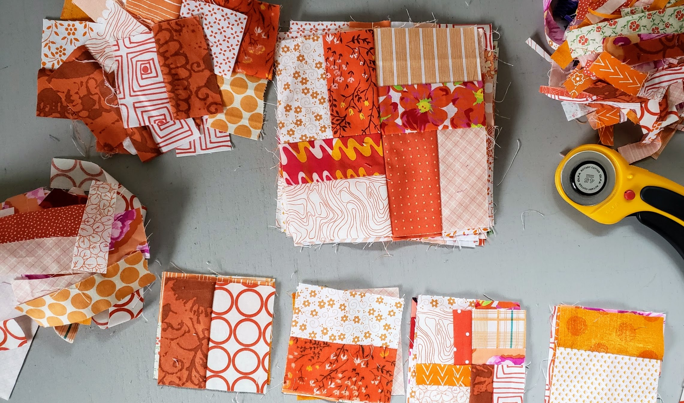Orange Scraps Value Plus Quilt