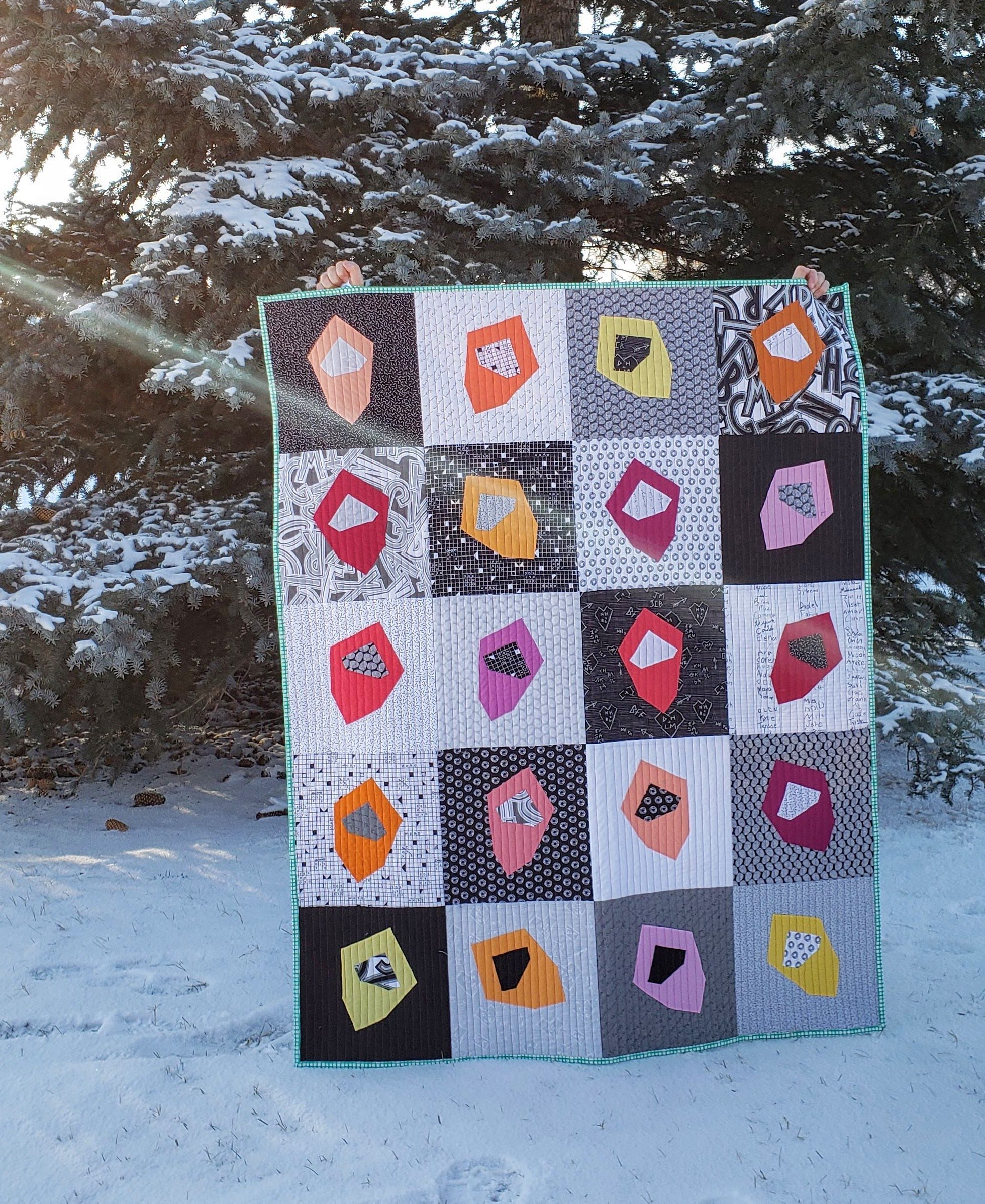 Pocket Square Improv Applique Quilt