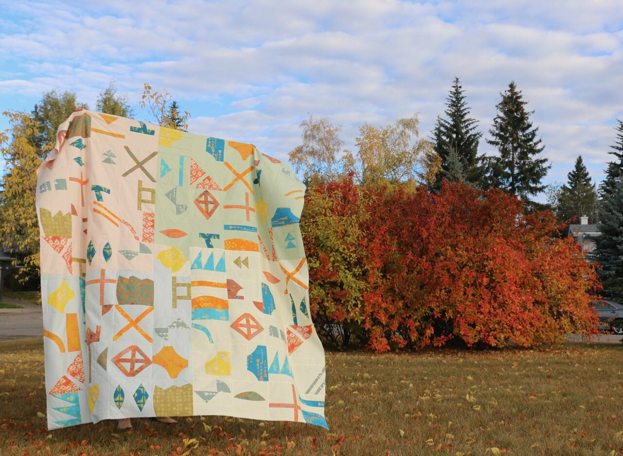My Lilla quilt pattern - a mix of precision piecing and improv techniques - with an improvised layout limited by the fabric on hand.