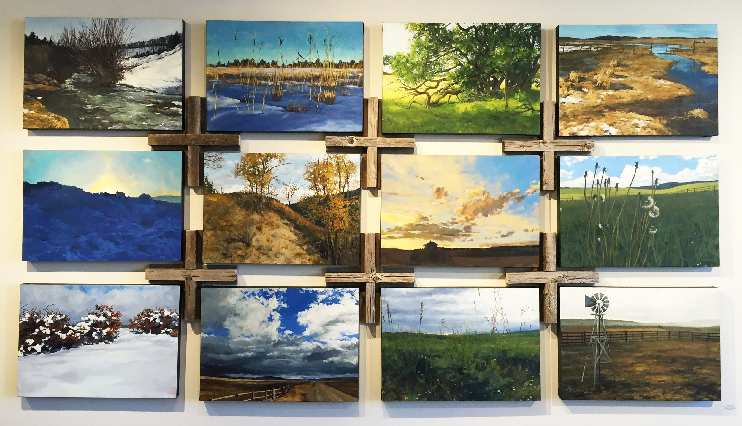 """""""Picture Book"""", oil on canvas composite of twelve 20""""x 28"""" paintings, $975 each"""