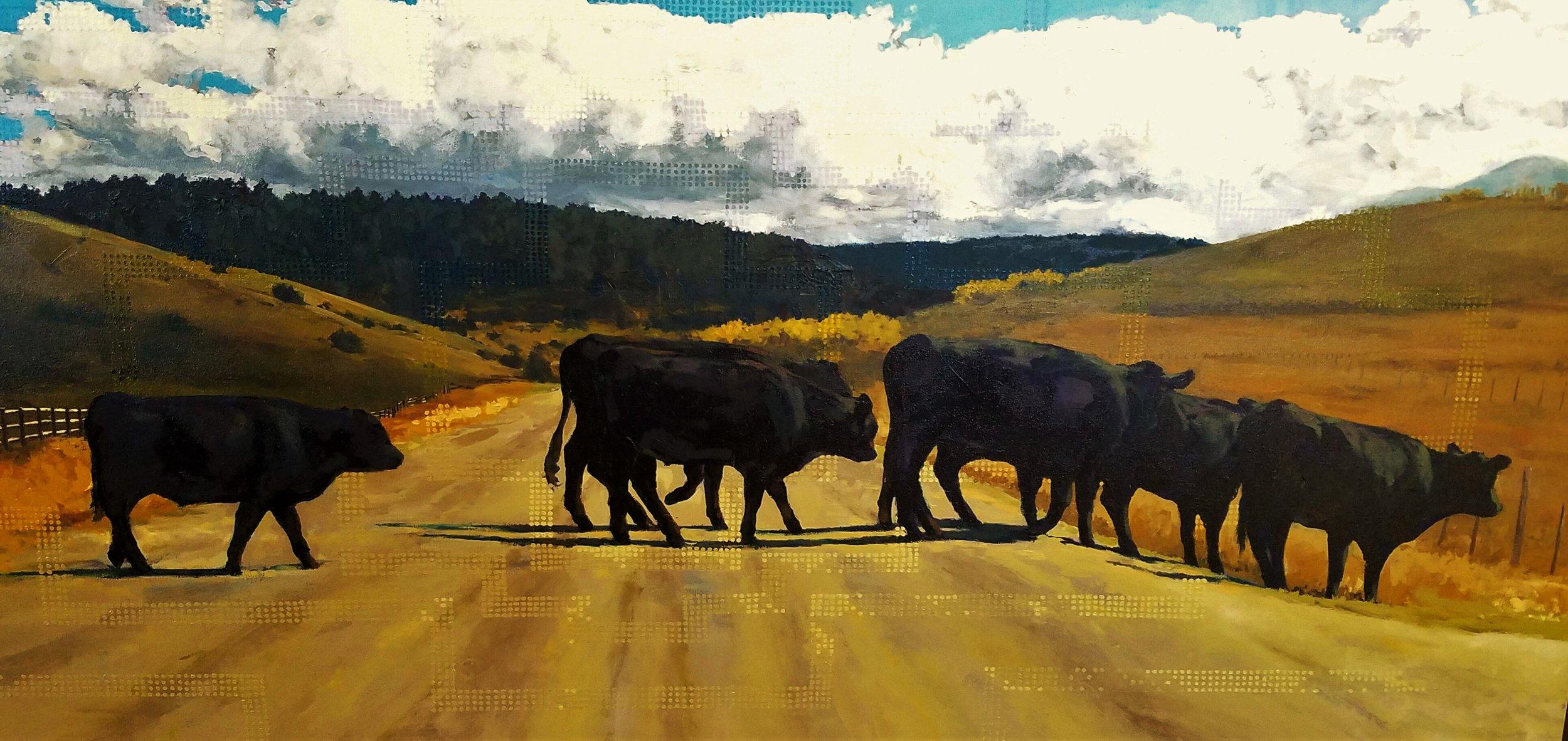 """Sunday Drive"", oil on canvas, 32""x 96"", $8500"