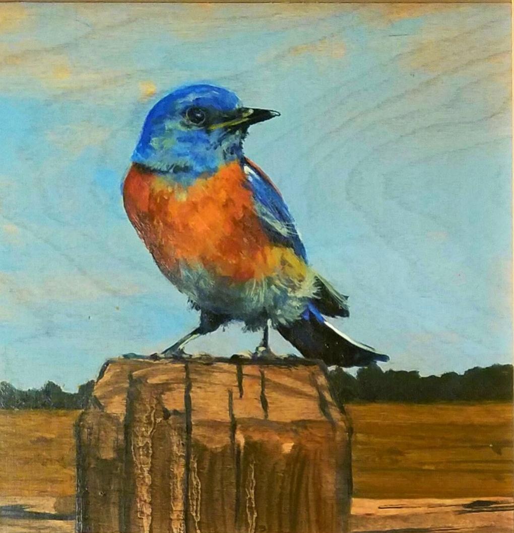 """Mountain Blue"", oil on wood, 8""x 8"", $325"