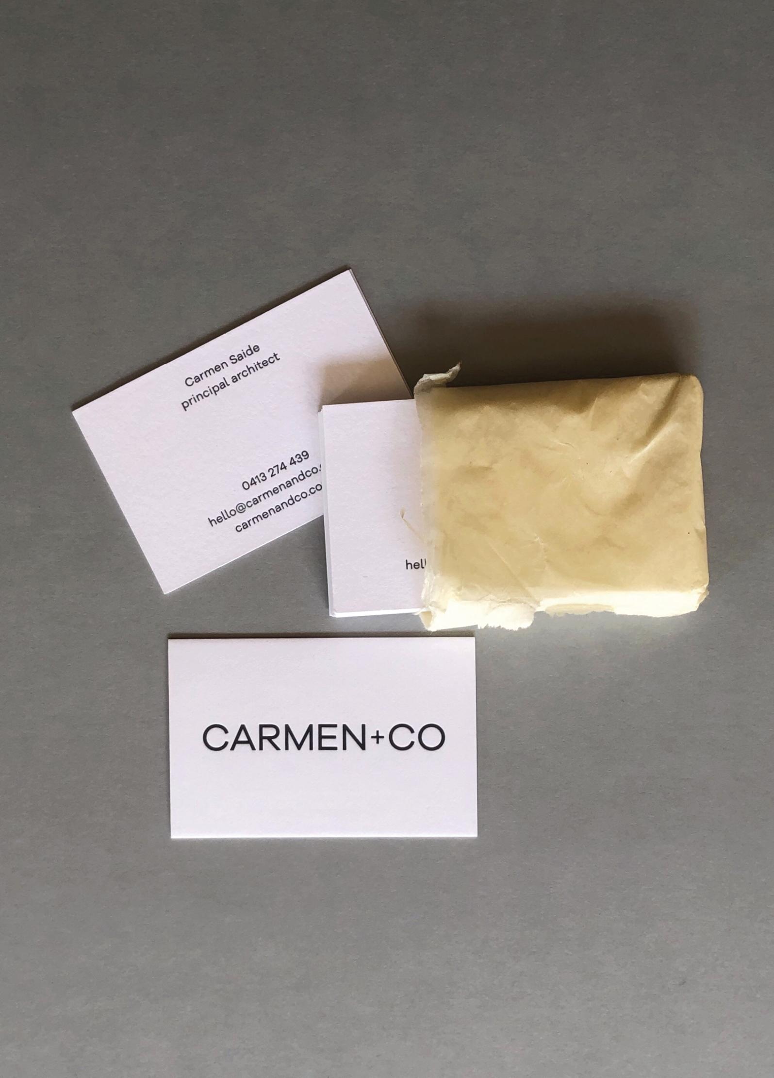 Letterpress business cards for  Carmen+Co