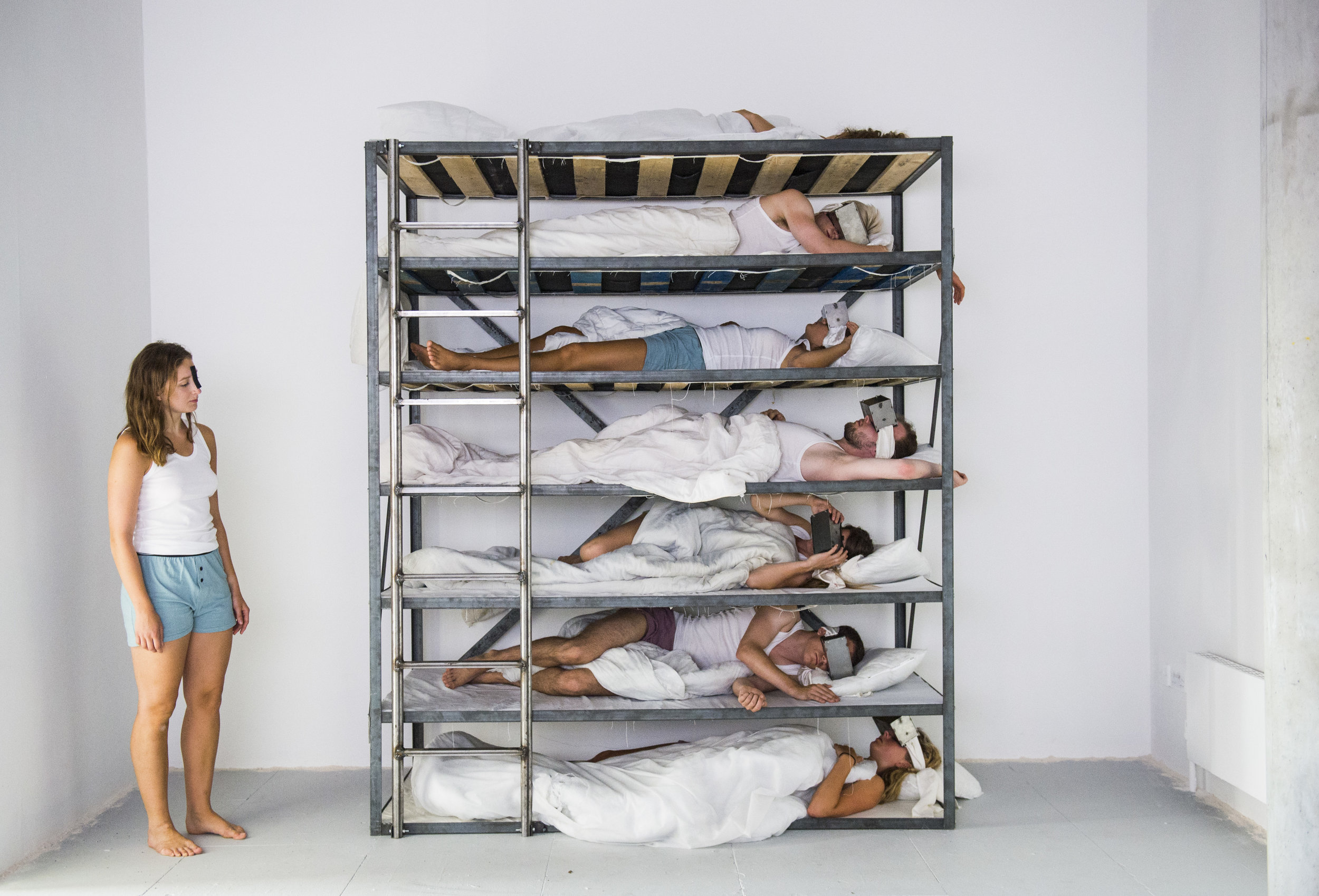 Bedroom, London, 2025  installation including tableau vivant with occasional movement  Goldsmiths MFA Degree Show, 2018  Photograph by Lucy Young