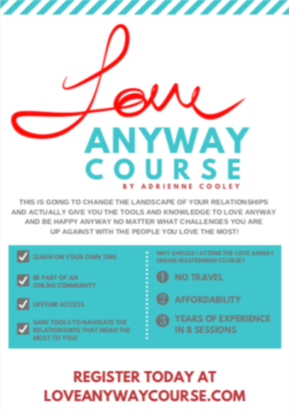 While the book won't be available until the release date, consider joining Adrienne for an amazing 8 lesson Love ANYWAY course that will be coming soon! Click  here  to buy this happy (: