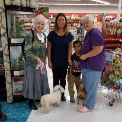 MEET AND GREET AT PETCO WITH NEW ADOPTIVE FAMILY FOR ISABELLA, IT WAS MATCH AND MRS. T WAS HAPPY HER PUP GOT A NEW FOREVER HOME AND A BROTHER!