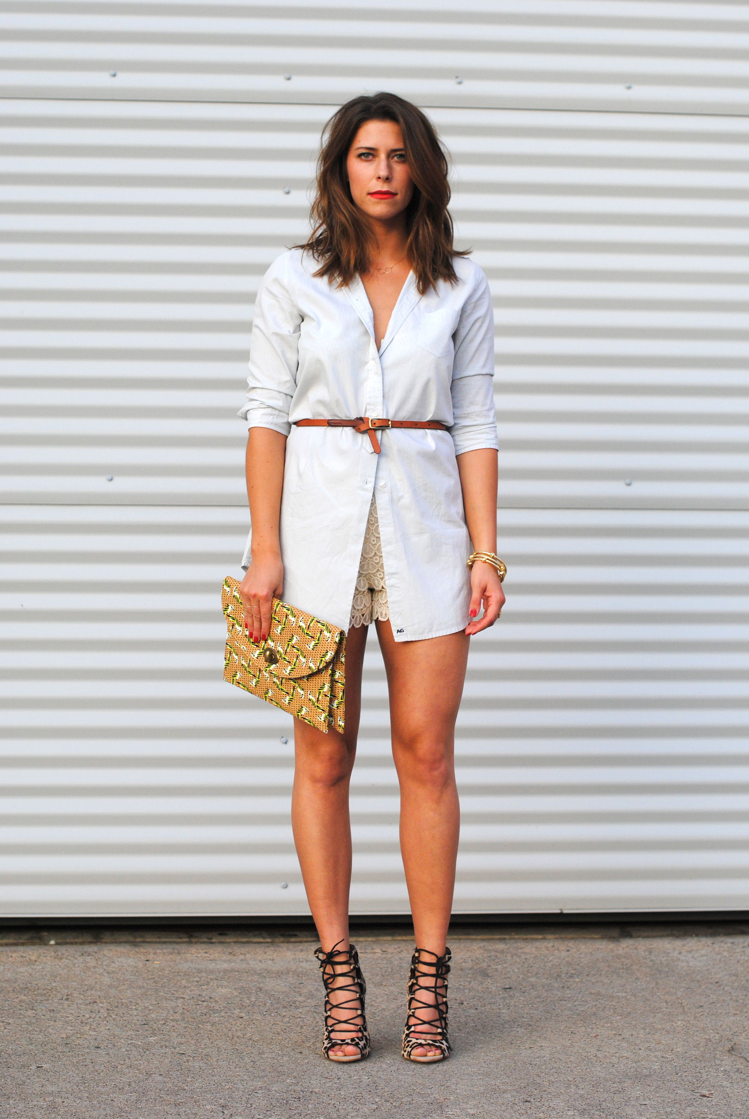 AG shirtdress, alternative  here    Club Monaco lace shorts   Zara lace up heels, alternative  here  (love these!)  Anthropologie clutch, alternative  here    Madewell belt    Knot bangles