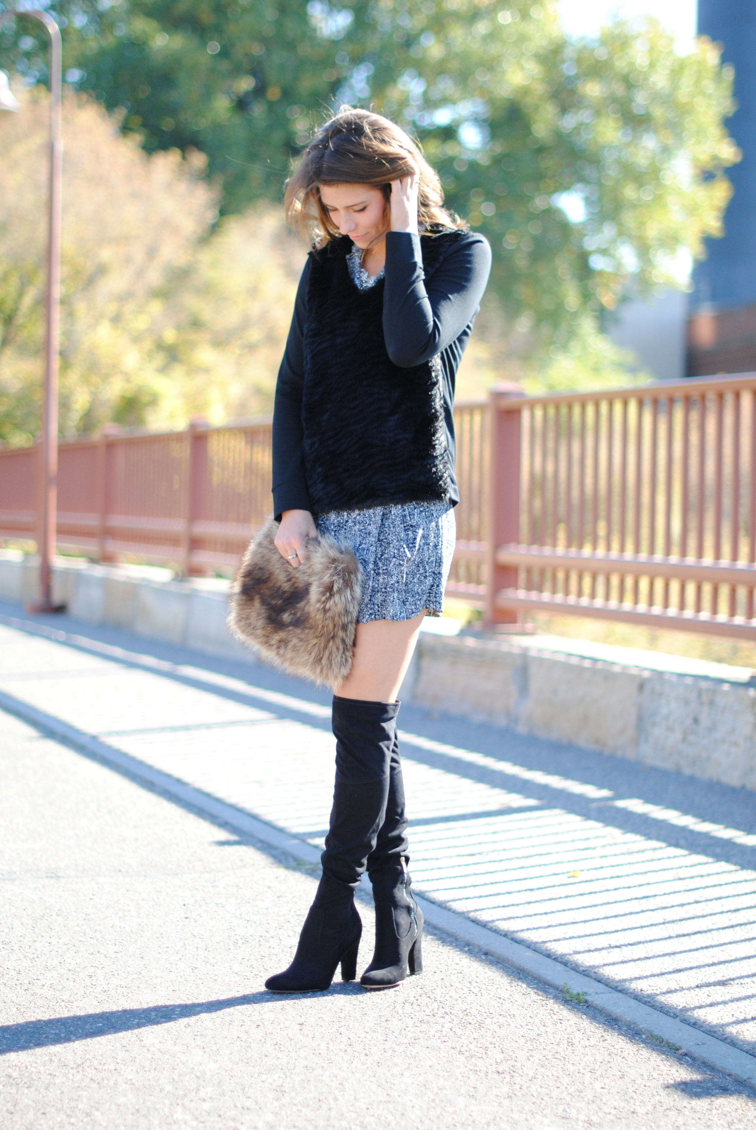 Sandro drop waist dress (sold out), alternative  here  and  here   Club Monaco sweater, alternative  here    Over the knee boots    Vintage fur purse (sold out), almost exact alternative  here