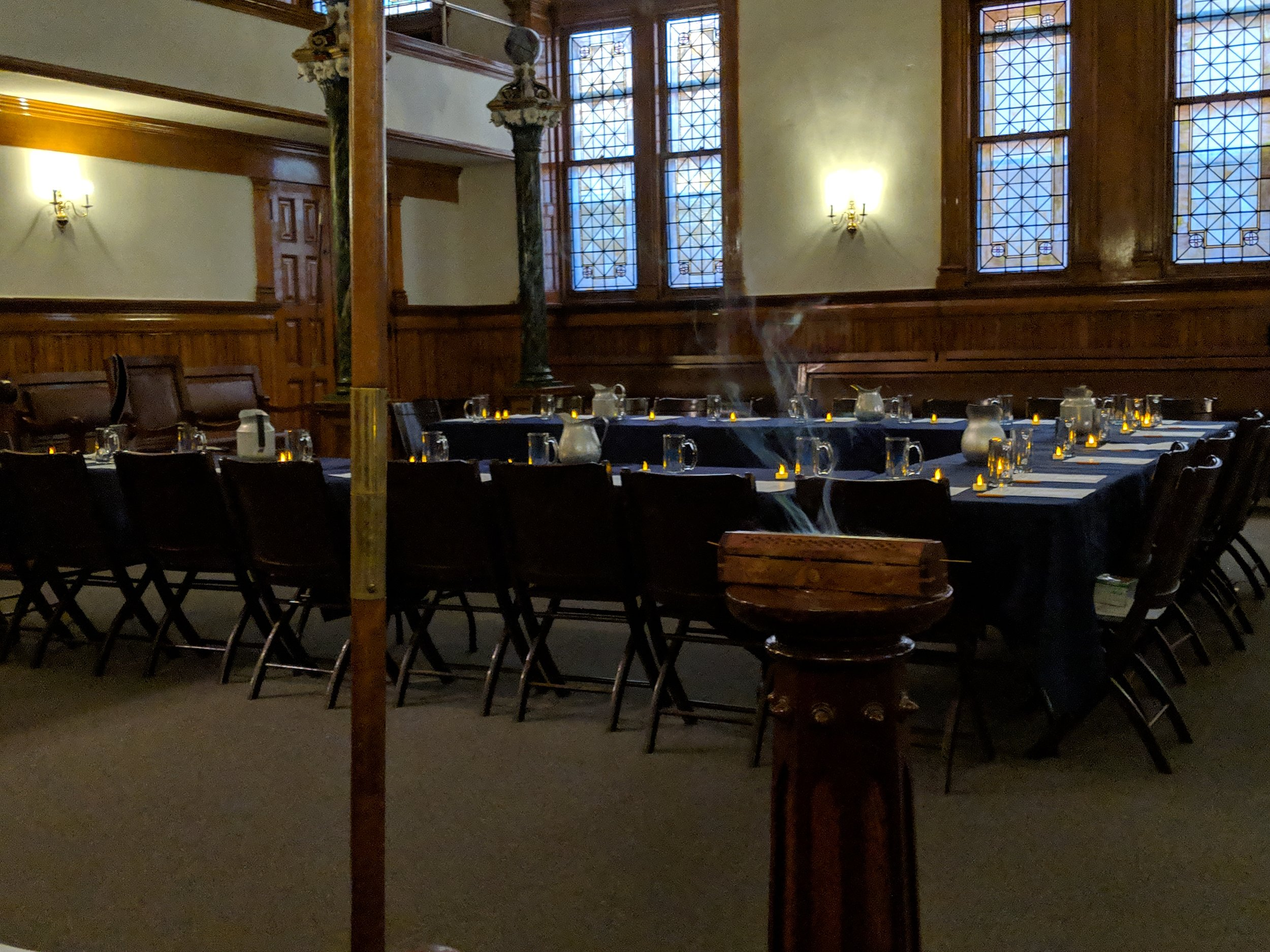 "The main Lodge room, The Ten Eyck Room, set up in a different way for the discussion, ""What is Justice,"" led by Brother Friedman."