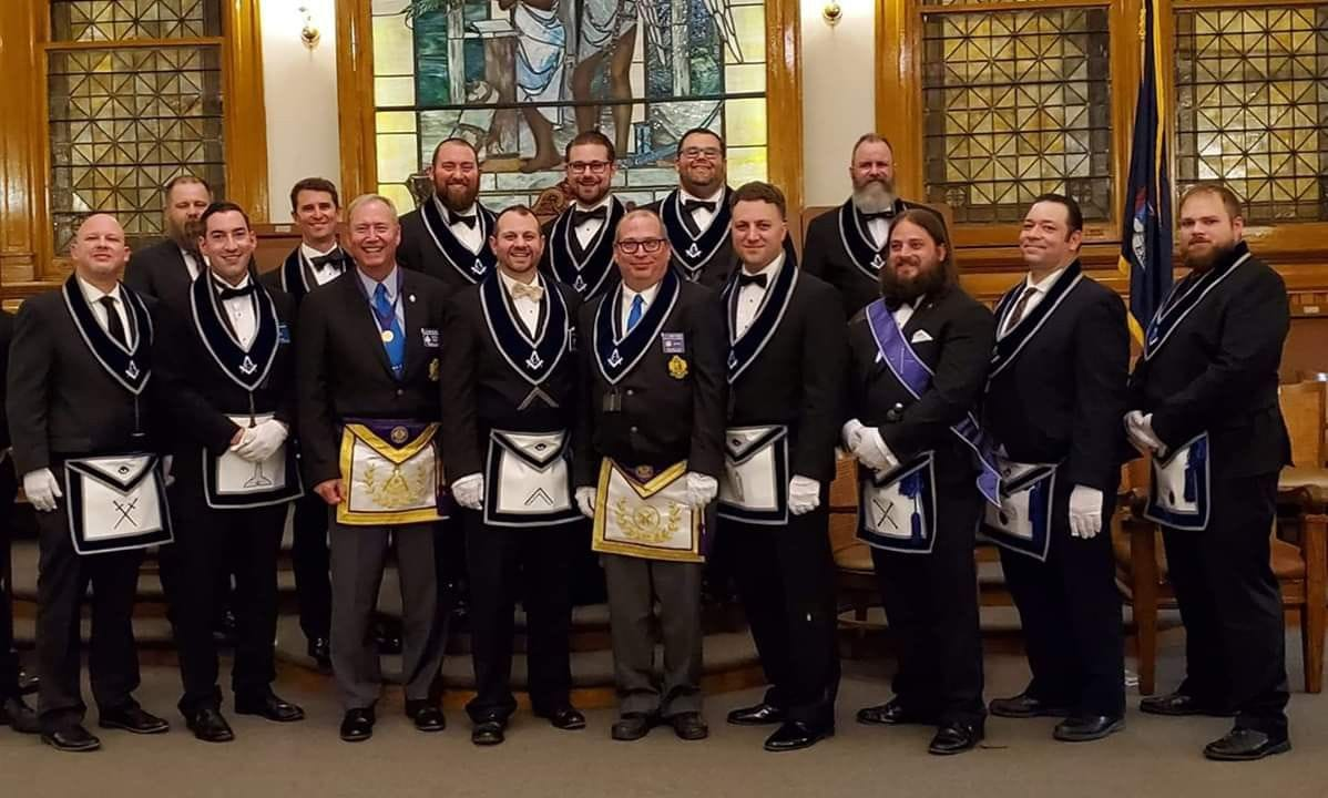 Masters Lodge #5's Officer Line for the 2019-2020 Masonic year.