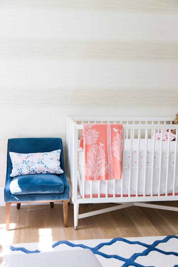 Modern Pink and Blue Nursery via 100 layer cakelet