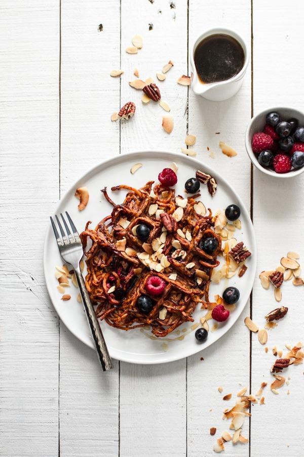 Blueberry Sweet Potato Waffles VIA edible perspective