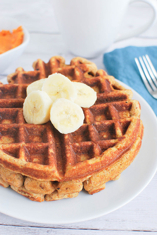 Paleo Sweet Potato Waffles via fake ginger
