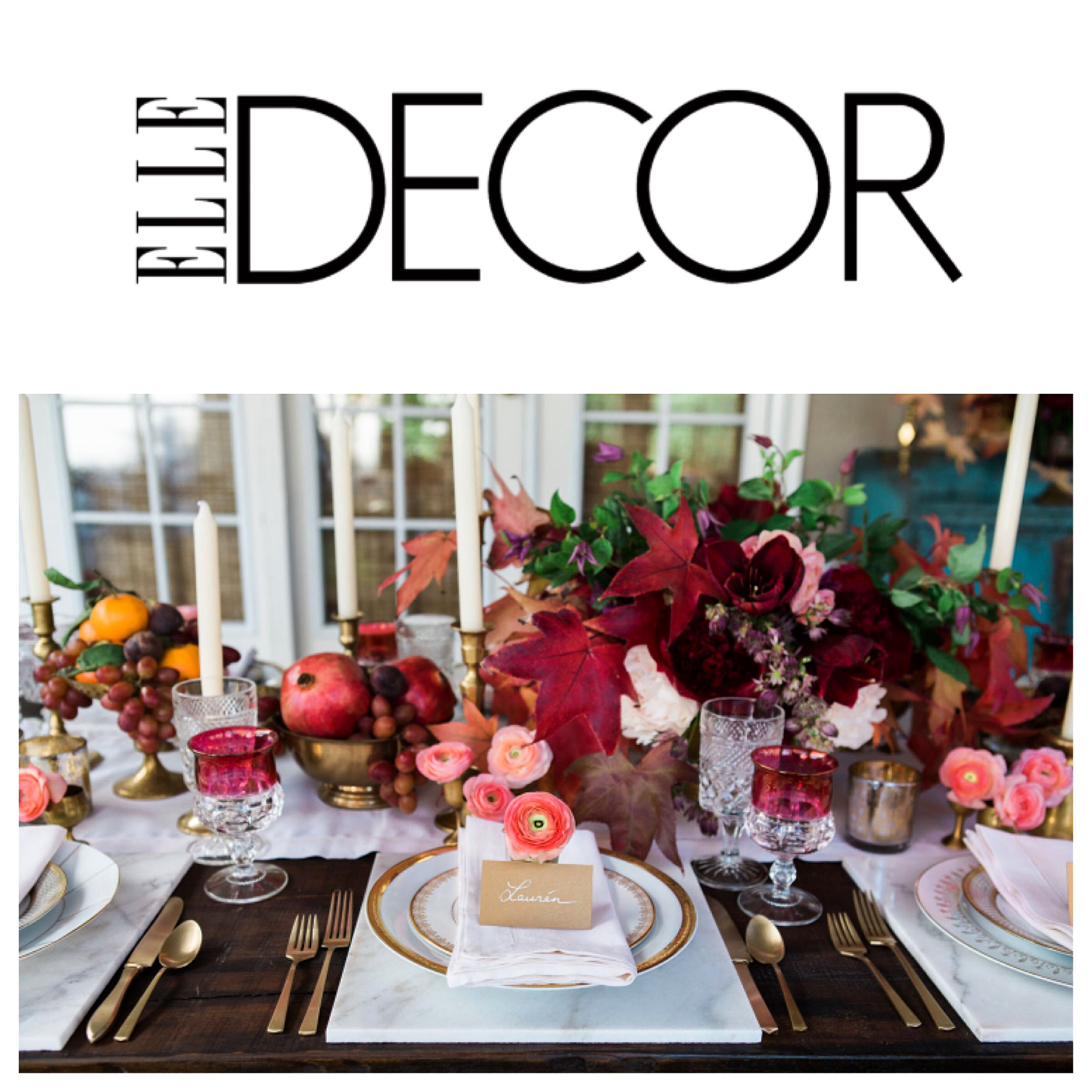 OUR THANKGIVING TABLE ON ELLE DECOR \u2014 Twink + Sis