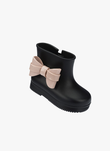 Mini Melissa Black Boot with Pink Bow via  Hello Alyss