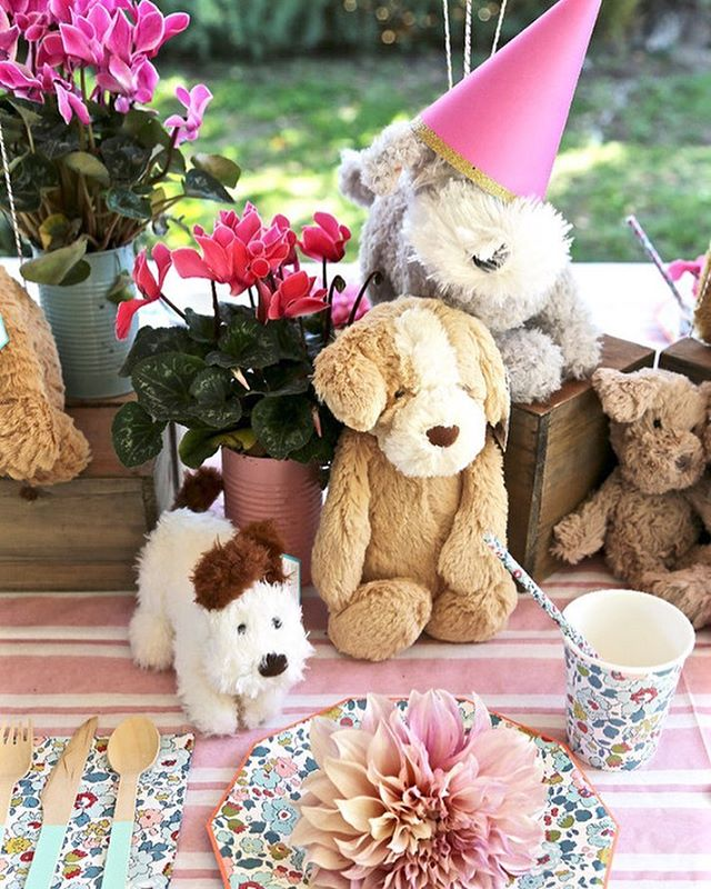 Puppy Bowl is tomorrow! So here's some last-minute #twinkandsis inspiration. 🐶🌸 More of our Puppies and Posies party is on @100layercakelet.