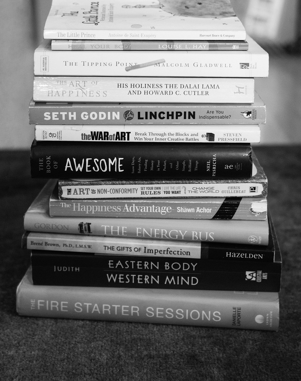 JaCKI's FAVORITE BOOKS :  THe little prince ,  heal your body ,  the tipping point ,  the art of happiness ,  linchpin ,  the war of art ,  the book of awesome ,  the art of non-conformity ,  the happiness advantage ,  the energy bus ,  the gifts of imperfection ,  eastern body western mind ,  the fire starter sessions