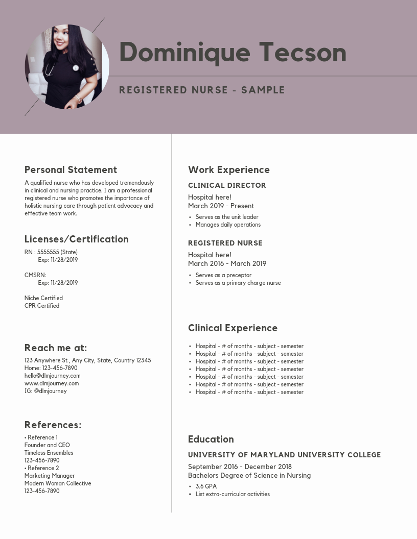 Resume Building for New Nurses: Sample Resumes Inside! — dlmjourney
