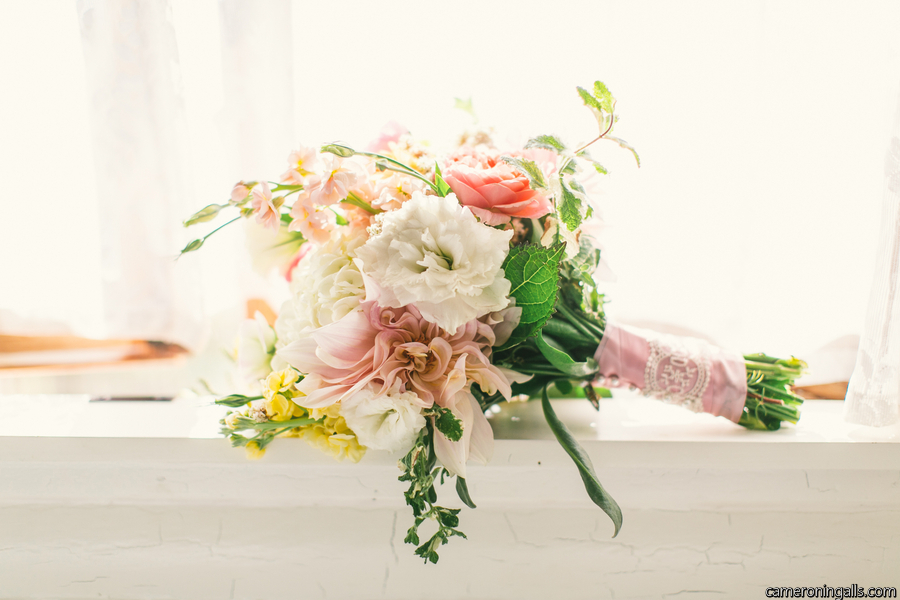 Overflowing Pink, yellows and mint Bouquet