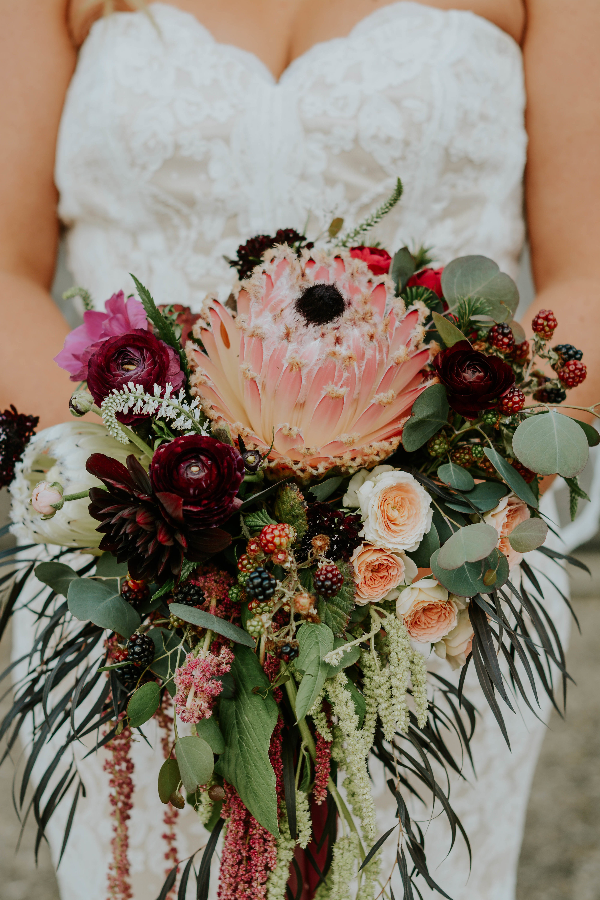 Bridal Bouquet with Protea, Garden Roses and Raspberries