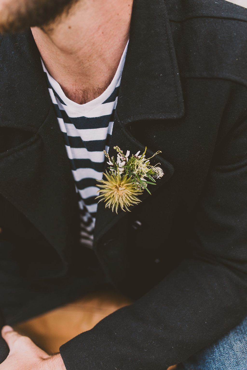 Funky Groom Boutonniere - sea inspired