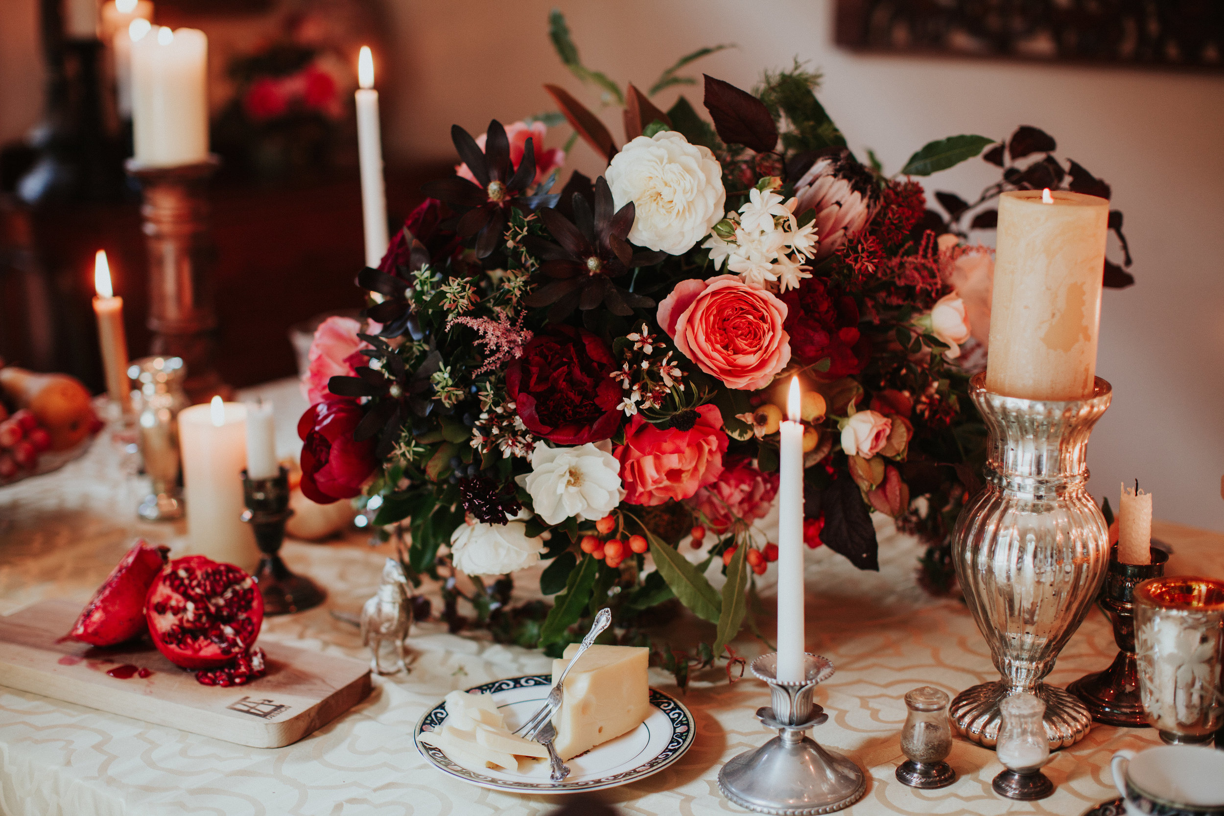 Large Centerpiece with Protea, Garden Roses, Peonies, rose hips and foraged berries