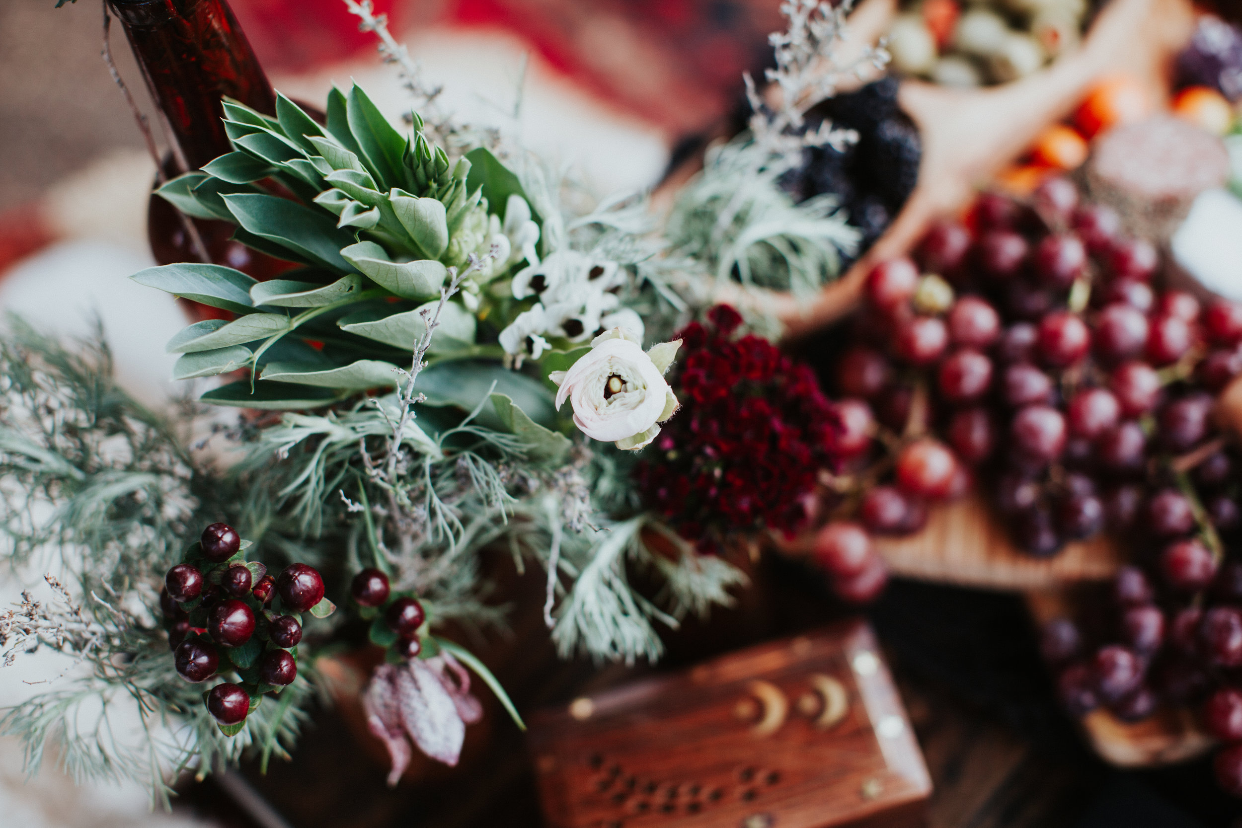Tablescape with fava bean blossoms